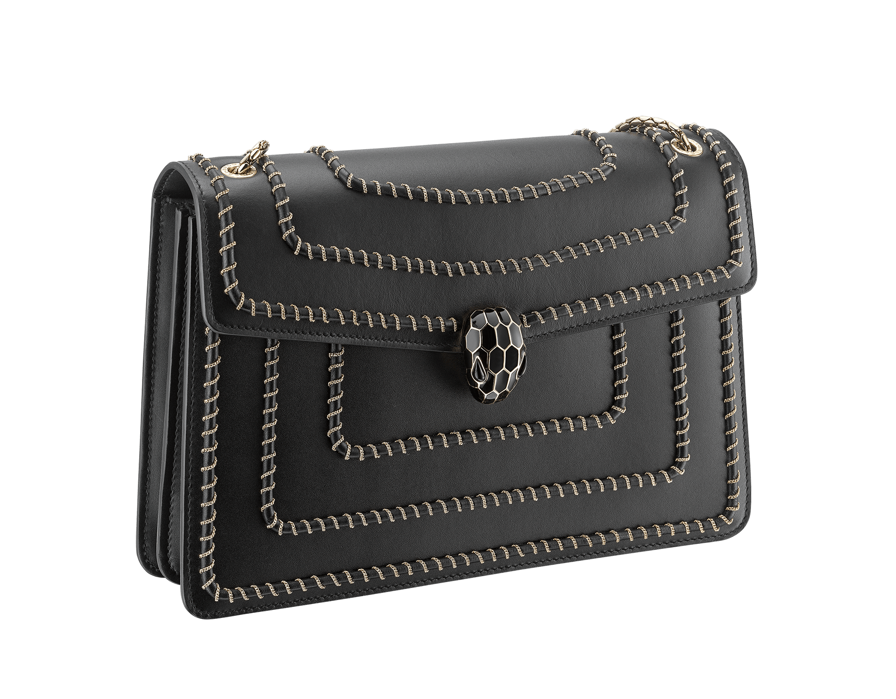 """Serpenti Forever"" shoulder bag in black calf leather, featuring a Woven Chain motif. Iconic snakehead closure in light gold plated brass enriched with black enamel and black onyx eyes 521-WC image 2"