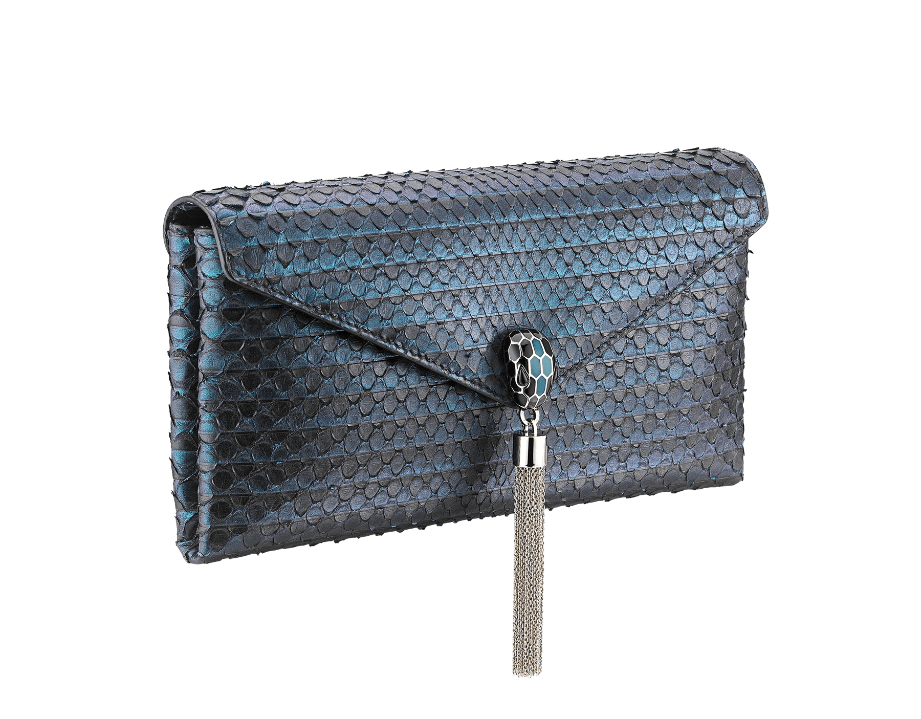 """Serpenti"" evening clutch bag in deep jade Plissé python skin. Iconic snakehead stud closure with tassel in palladium plated brass enriched with black and deep jade enamel and black onyx eyes. 288168 image 2"