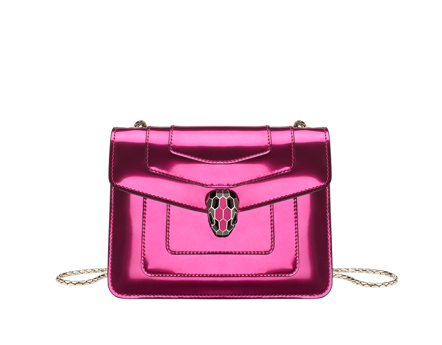 """Serpenti Forever"" crossbody bag in flash amethyst new brushed metallic calf leather. Iconic snake head closure in light gold plated brass enriched with black and flash amethyst enamel and black onyx eyes. 288885 image 1"