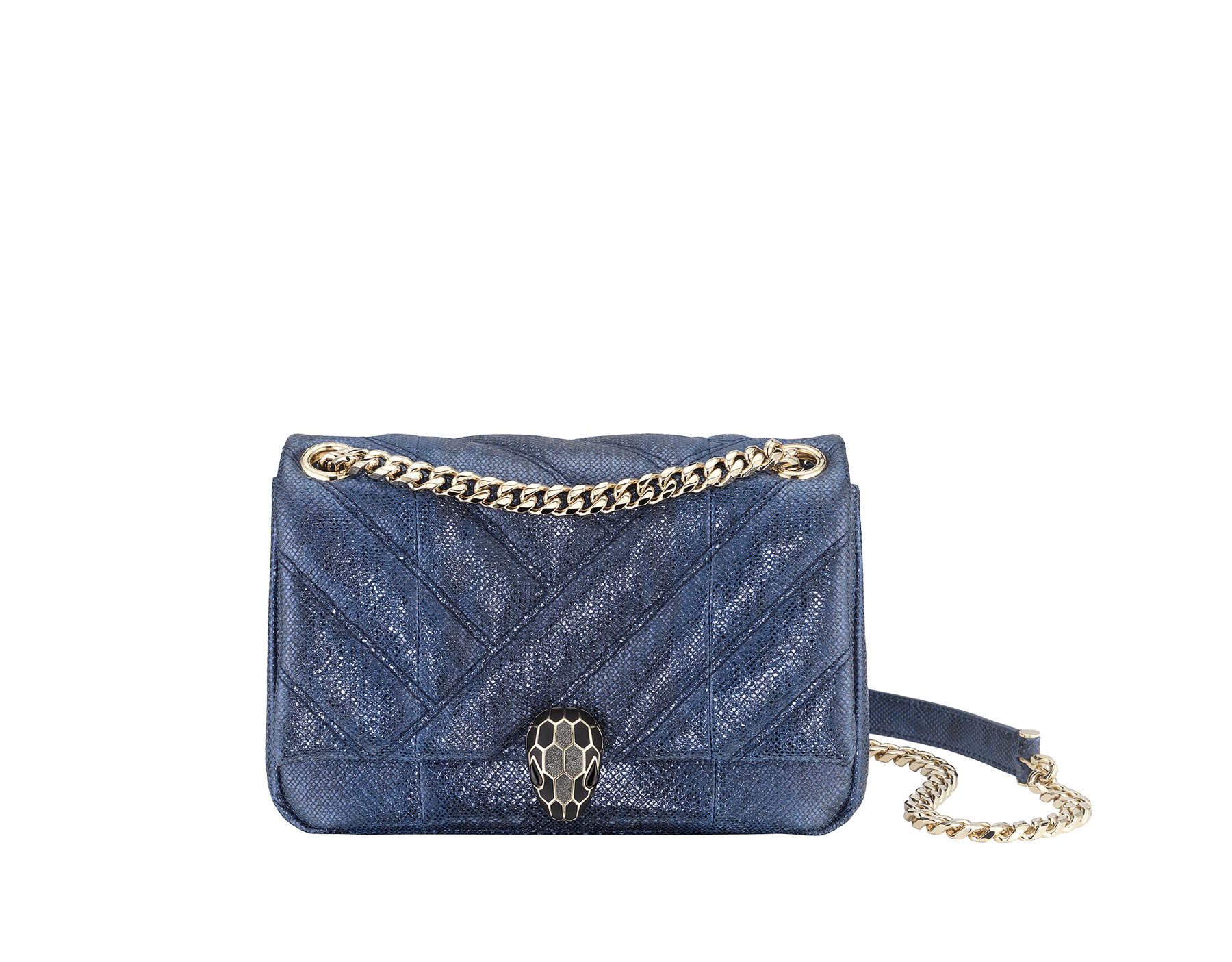 """Serpenti Cabochon"" shoulder bag in soft, quilted, metallic Midnight Sapphire blue karung skin with graphic motif and black nappa leather inner lining. Alluring snakehead closure in light gold-plated brass enriched with matte black and glittery Hawk's Eye gray enamel and black onyx eyes. 290238 image 1"