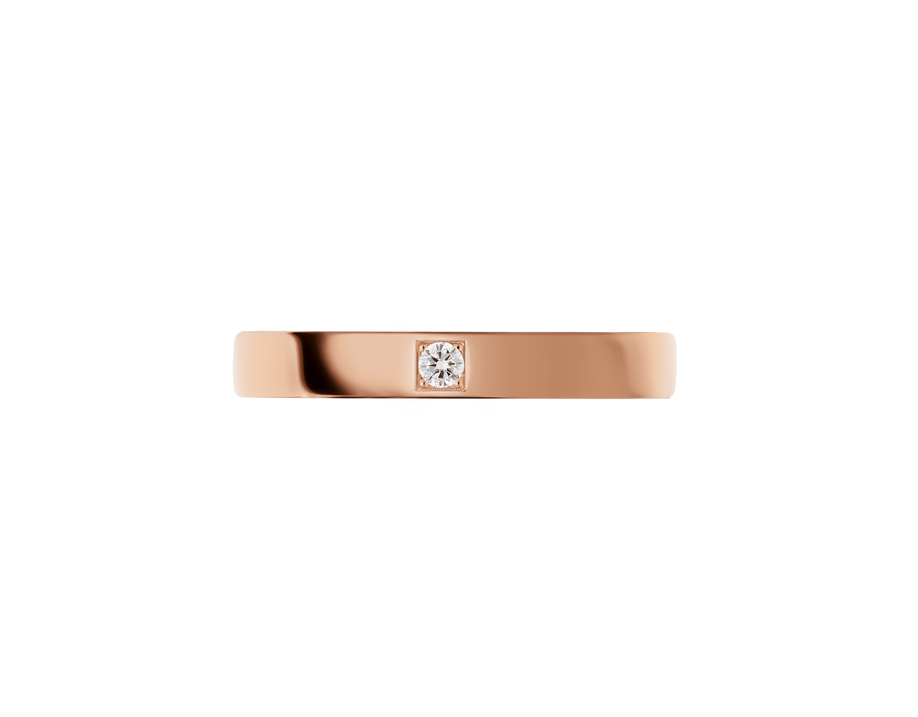 MarryMe 18 kt rose gold wedding band set with a diamond. AN858411 image 3