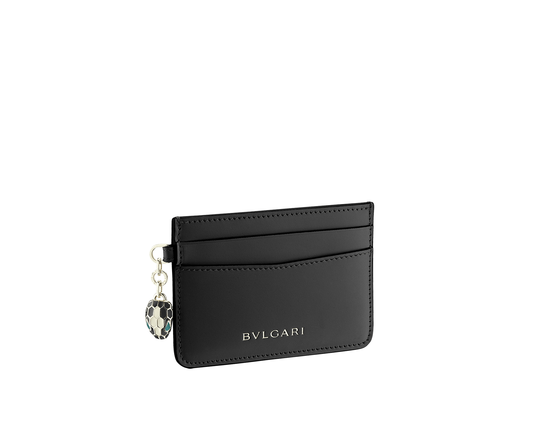 """Serpenti Forever"" card holder in Lavander Amethyst lilac calf leather. Iconic light gold plated brass snakehead charm, finished with black and white agate enamel, and emerald green enamel eyes. SEA-CC-HOLDER-CLb image 1"