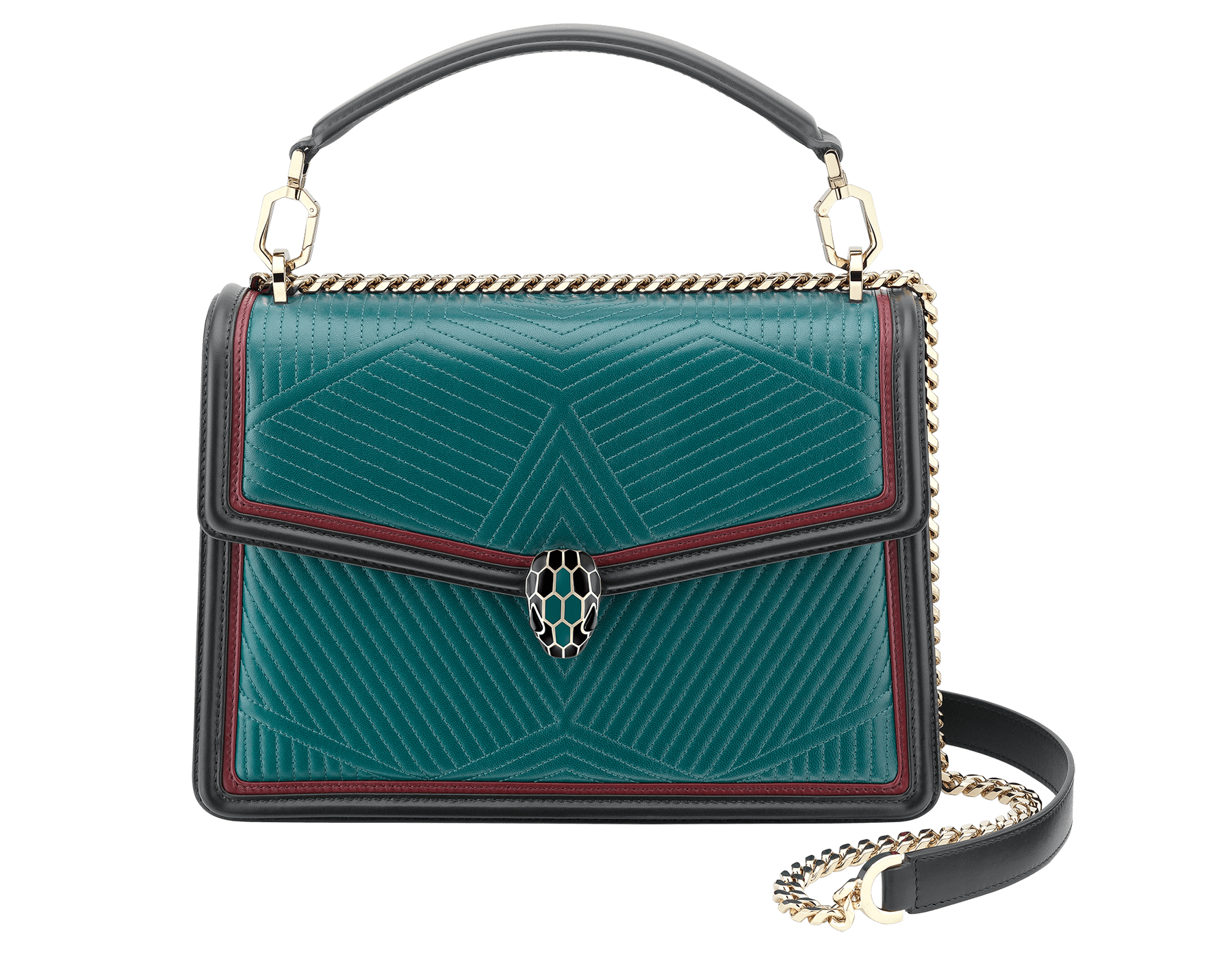 """Serpenti Diamond Blast"" shoulder bag in deep jade quilted nappa leather body and roman garnet and black calf leather frames. Iconic snakehead closure in light gold plated brass enriched with deep jade and black enamel and black onyx eyes. 287973 image 1"