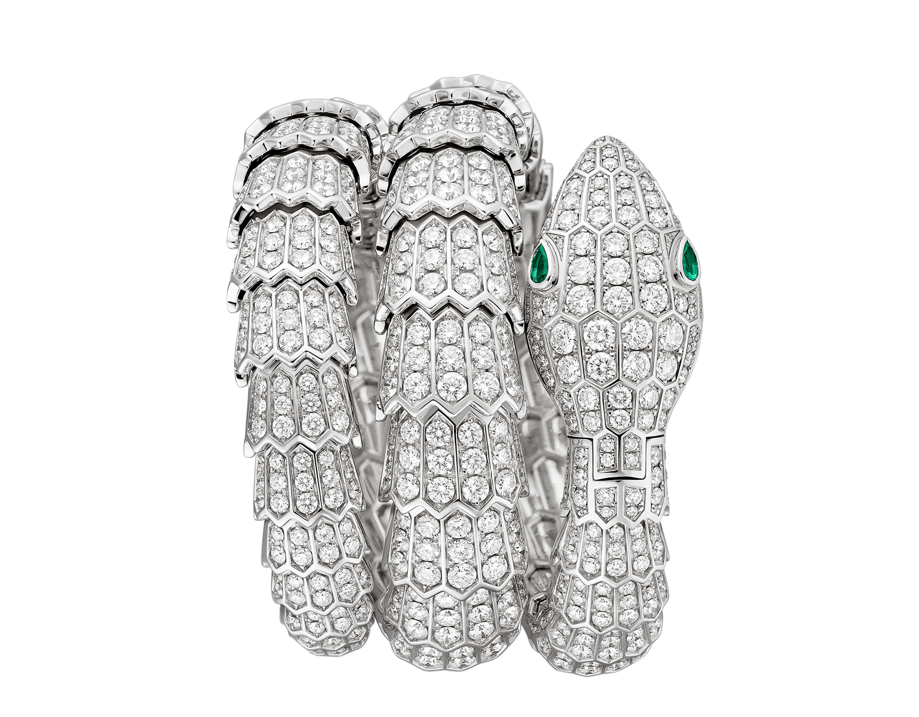 Serpenti Secret Watch with 18 kt white gold head, dial and double spiral bracelet, all set with brilliant cut diamonds, emerald eyes and 18 kt white gold case. 102701 image 1