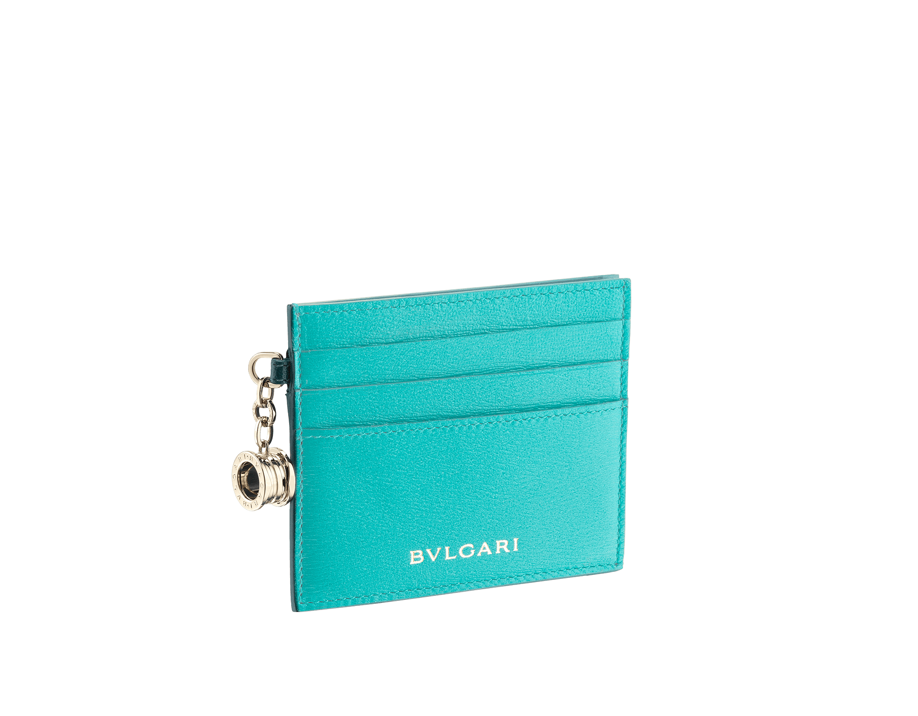 B.zero1 open credit card holder in tropical turquoise and deep jade goatskin. Iconic B.zero1 charm in light gold plated brass. 288234 image 1