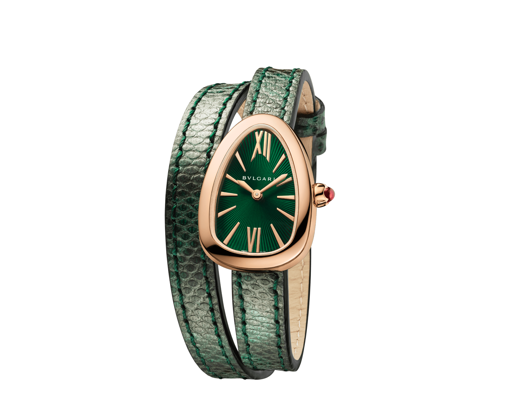 Reloj Serpenti con caja en oro rosa de 18qt, esfera lacada en verde y correa de dos vueltas intercambiable de piel de karung verde. 102726 image 2