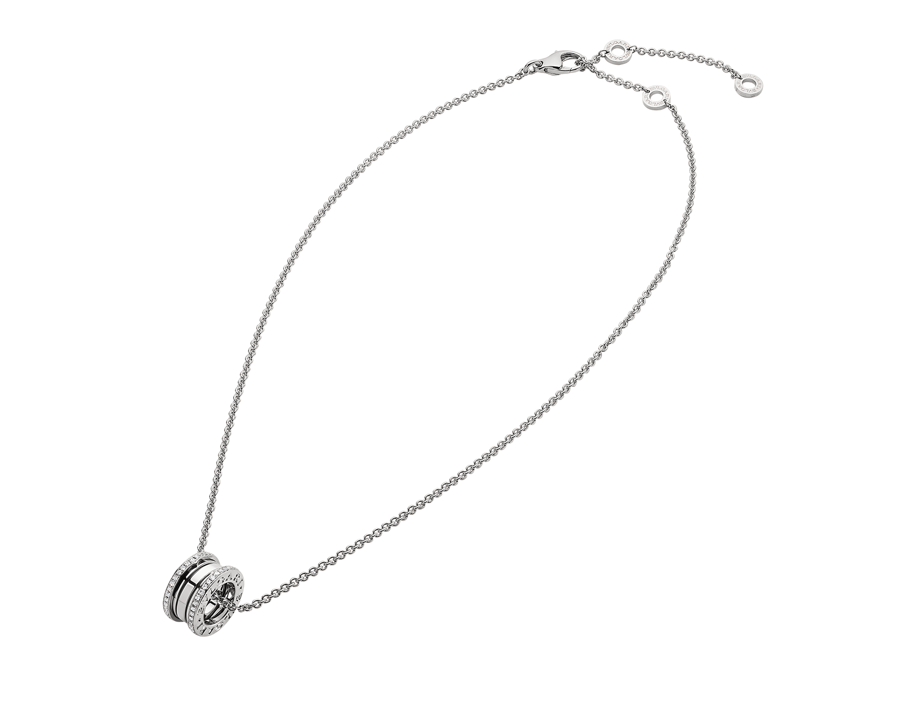 B.zero1 necklace with 18 kt white gold chain and 18 kt white gold round pendant set with pavé diamonds on the edges. 350054 image 2