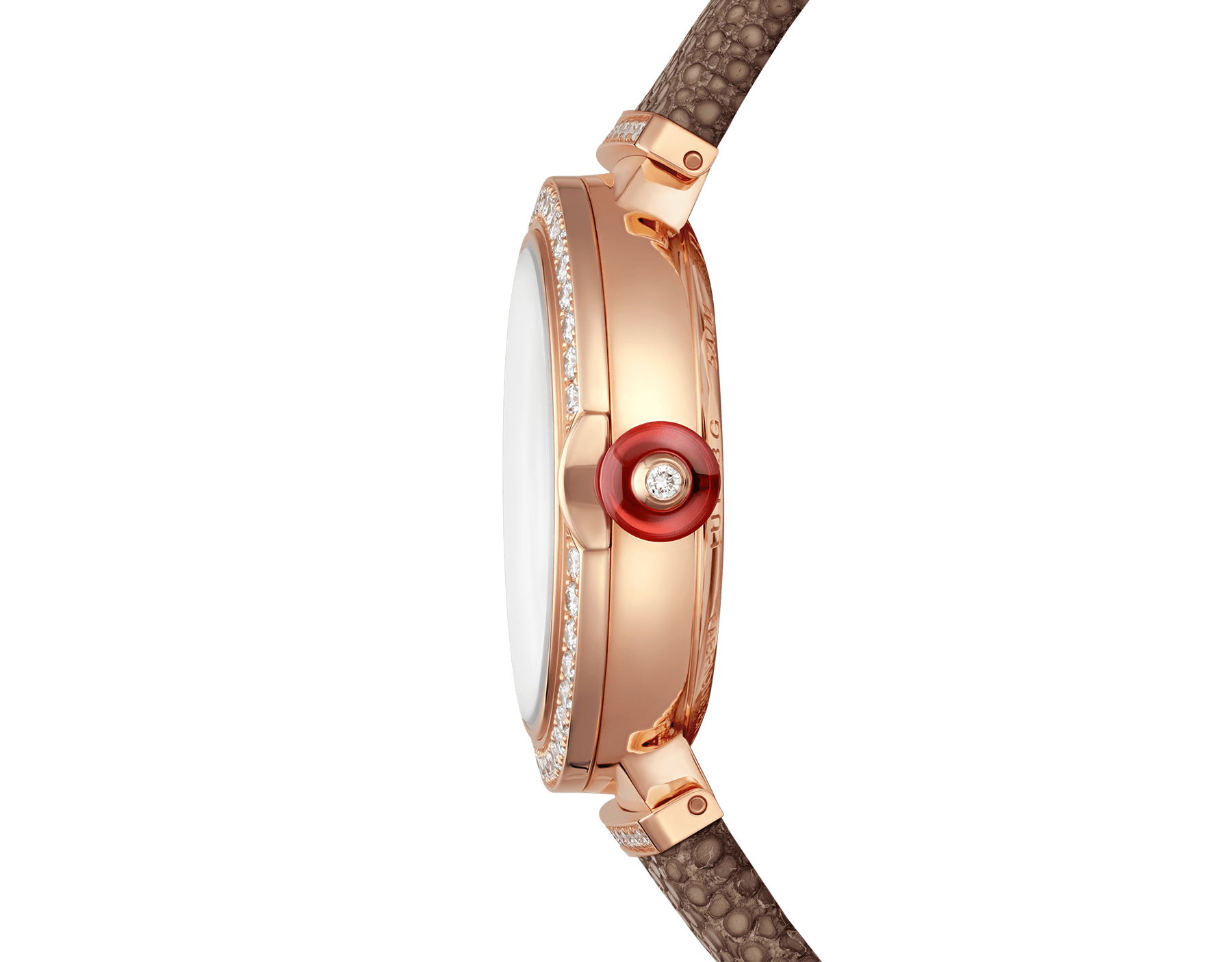 LVCEA watch with 18 kt rose gold case set with diamonds, 18 kt rose gold mosaic dial and bronze galuchat bracelet. 102799 image 3