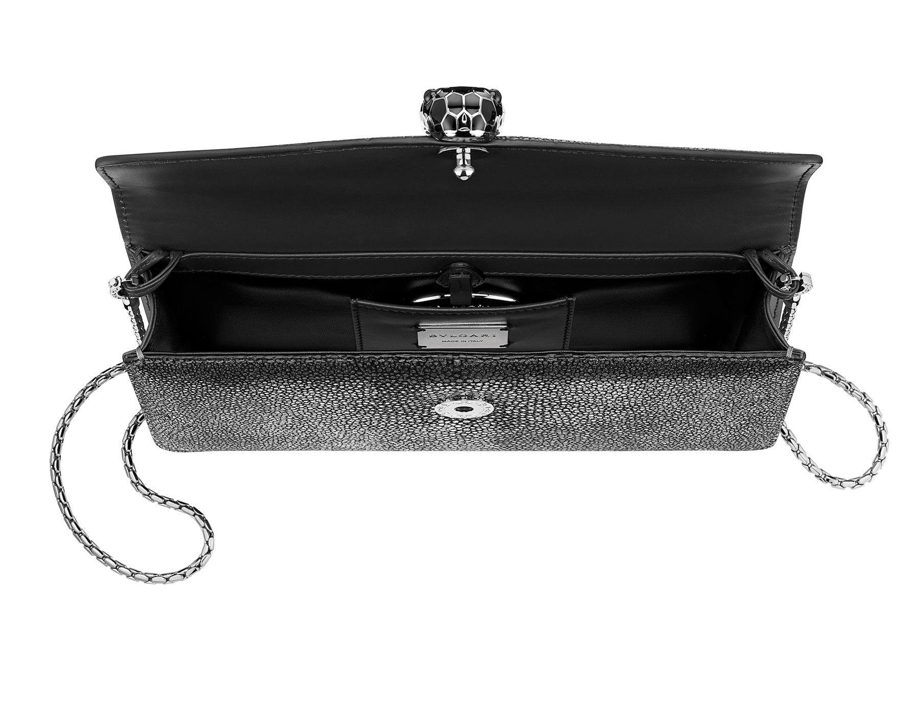 """Serpenti Forever"" shoulder bag in golden emerald crystal galuchat skin. Iconic snake head closure in light gold plated brass enriched with black and forest emerald enamel and green malachite eyes. Special Edition. 486-CG image 4"