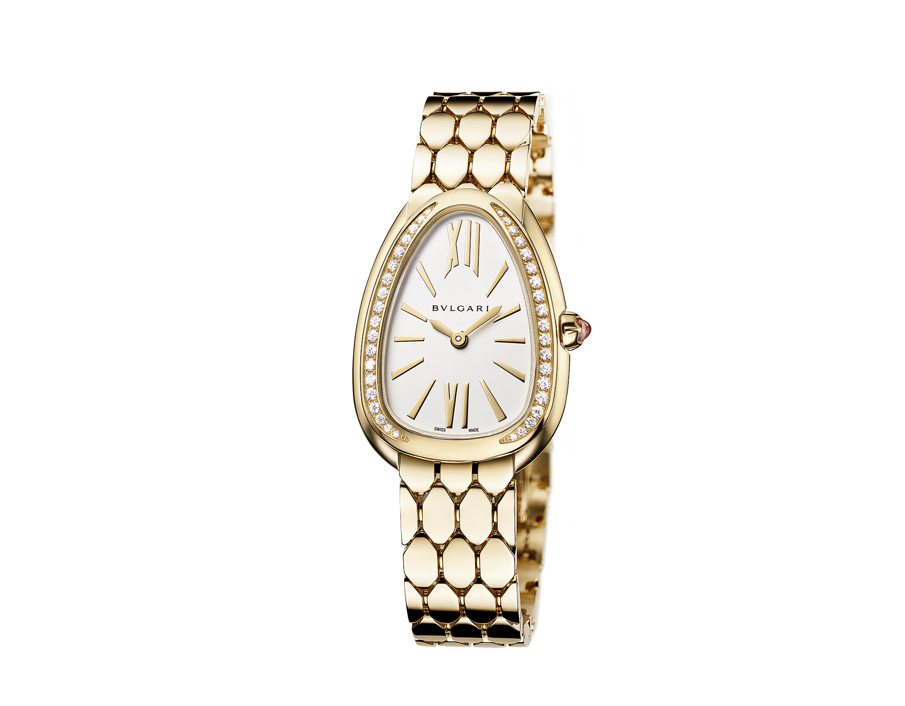Serpenti Seduttori watch with 18 kt yellow gold case, 18 kt yellow gold bracelet, 18 kt yellow gold bezel set with diamonds and a white silver opaline dial. 103147 image 2