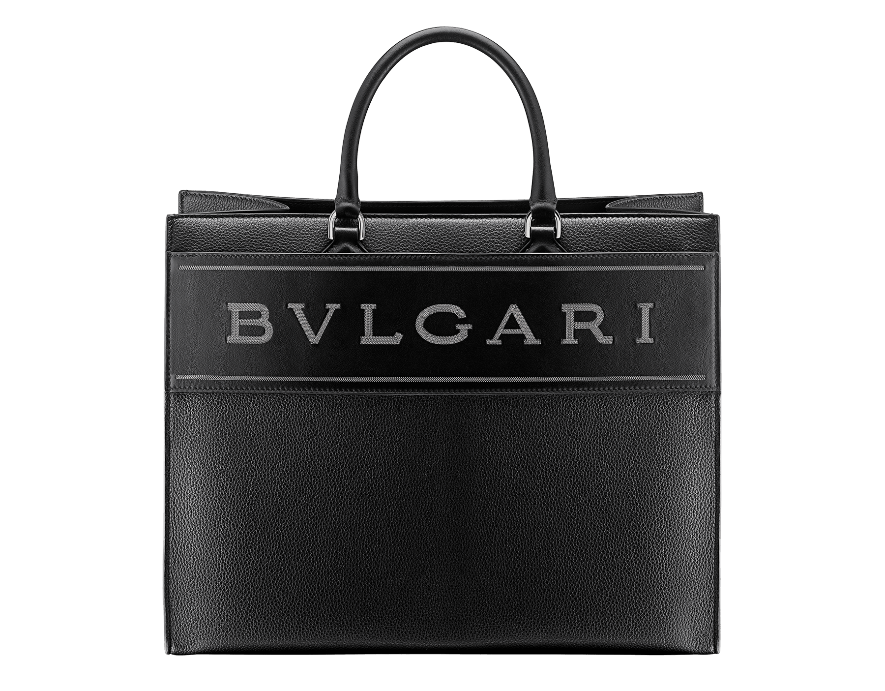 """Bvlgari Logo"" large tote bag in black calf leather, with black grosgrain inner lining. Bvlgari logo featured with dark ruthenium-plated brass chain inserts on the black calf leather. BVL-1160 image 1"