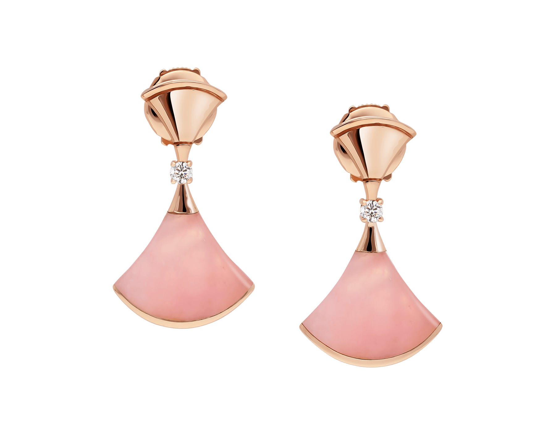 DIVAS' DREAM earrings in 18 kt rose gold set with pink opal inserts and pavé diamonds 357862 image 1