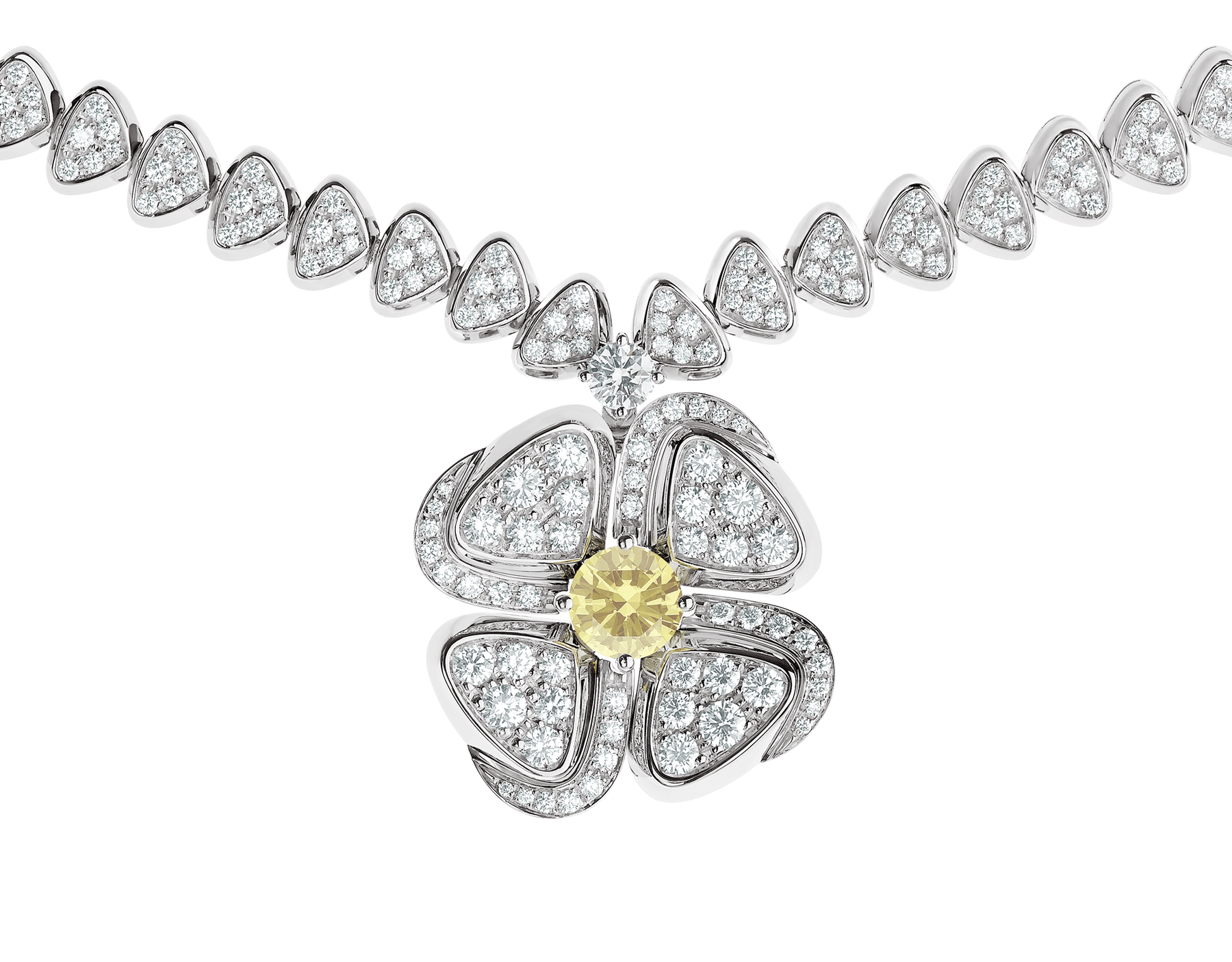 Fiorever 18 kt white gold necklace set with one central yellow diamond (0.50 ct) and pavé diamonds 357797 image 3
