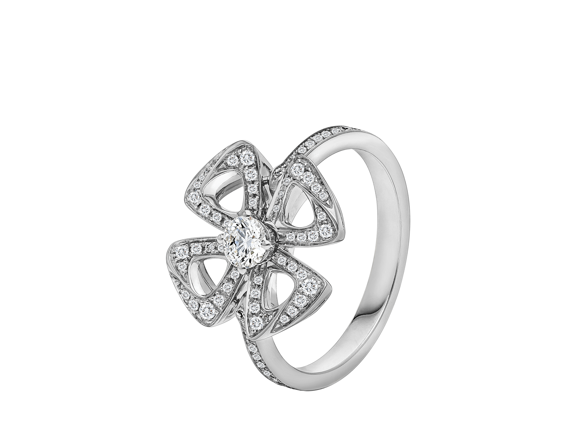 Fiorever 18 kt white gold ring set with a central diamond and pavé diamonds. AN858165 image 1