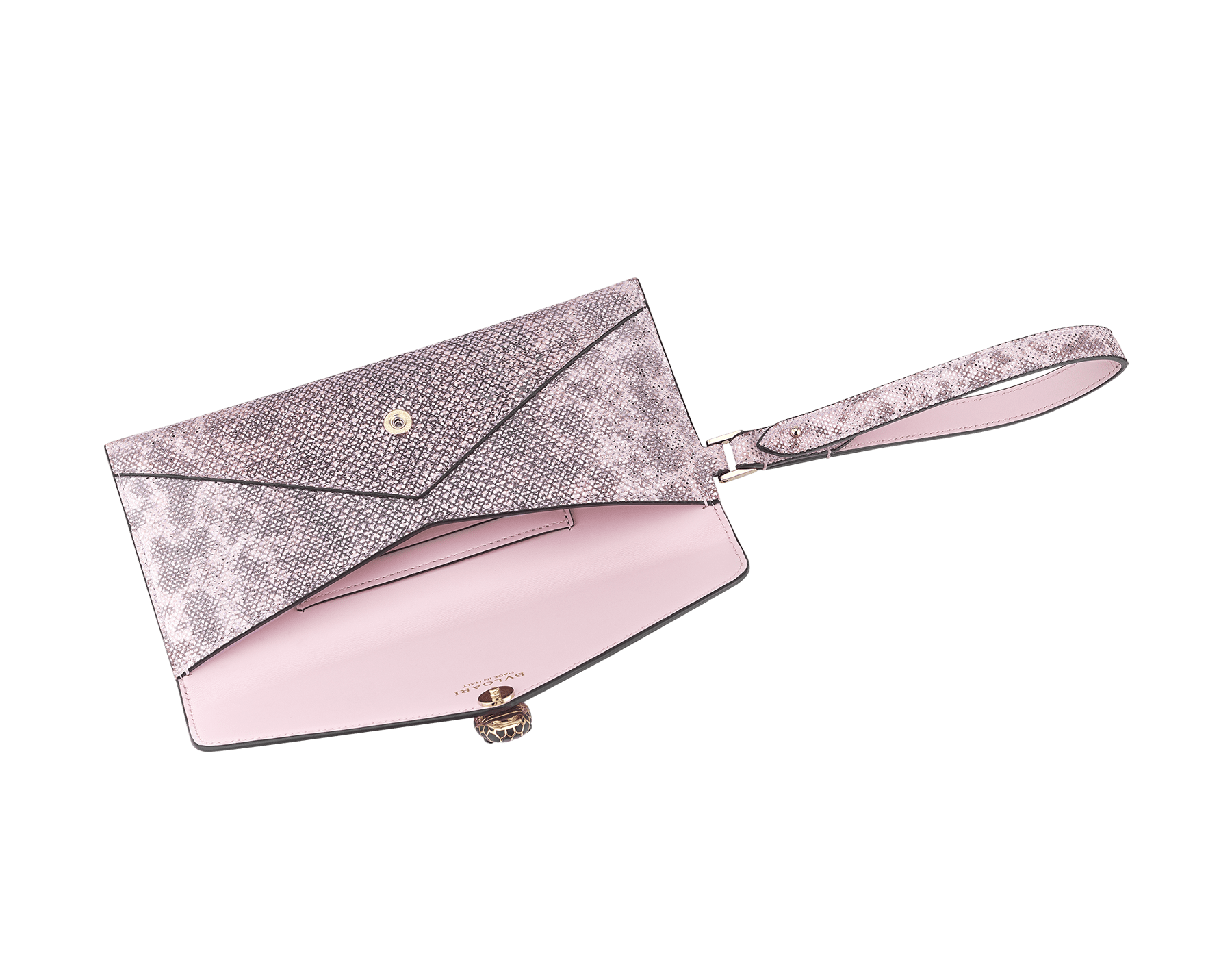 Serpenti Forever envelope case in rosa di francia metallic karung skin and rosa di francia calf leather. Iconic snakehead charm in black and rosa di francia enamel, with black onyx eyes. 289083 image 2