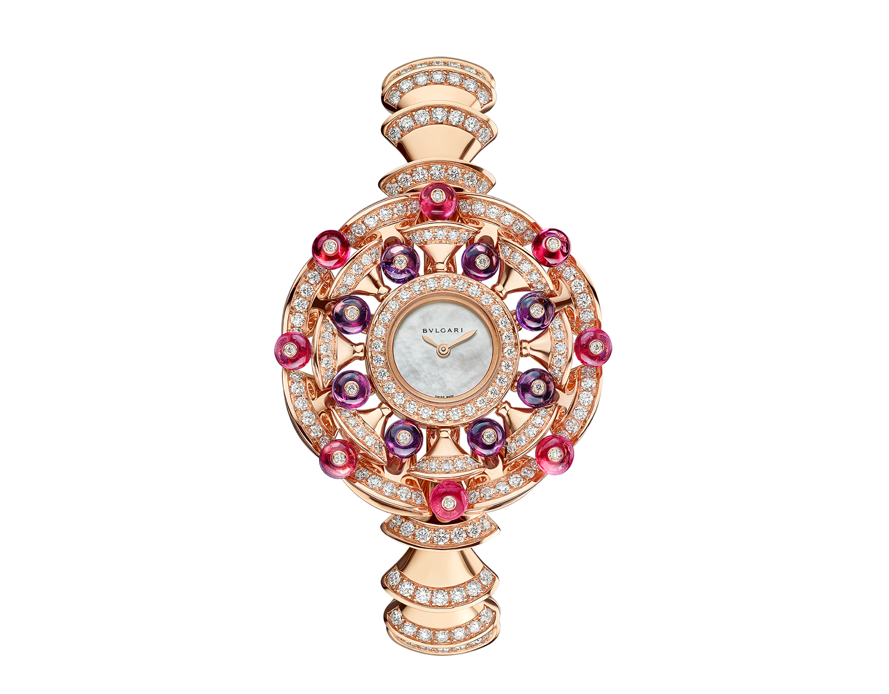 DIVAS' DREAM watch with 18 kt rose gold case set with brilliant-cut diamonds, round shaped rubellites and amethysts beads, white mother-of-pearl dial and 18 kt rose gold bracelet set with brilliant-cut diamonds 102080 image 1