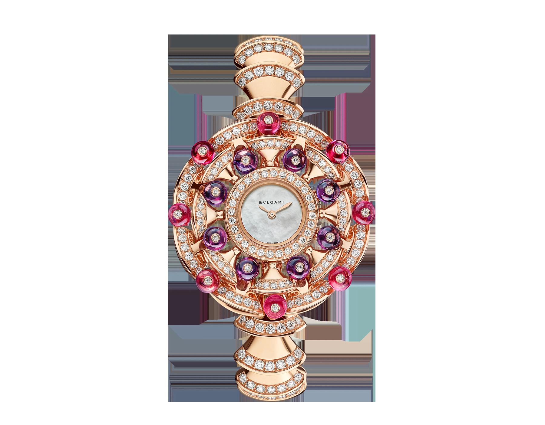 DIVAS' DREAM 腕錶,18K 玫瑰金錶殼鑲飾明亮型切割鑽石、紅碧璽圓珠和紫水晶圓珠。白色珍珠母貝錶盤,18K 玫瑰金錶帶鑲飾明亮型切割鑽石。 102080 image 1