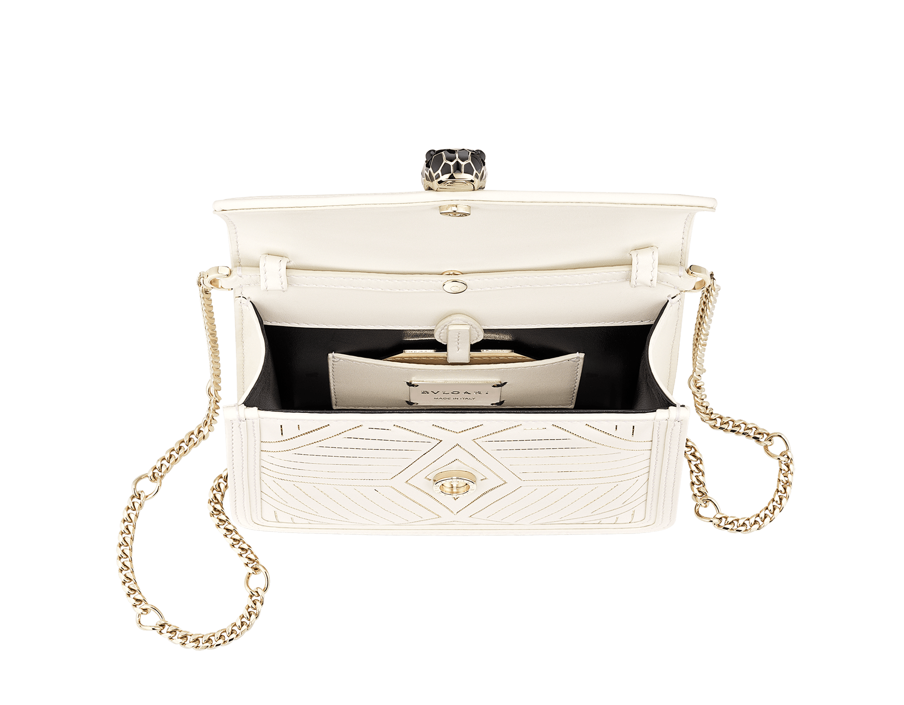 """Serpenti Diamond Blast"" shoulder bag in white agate calf leather, featuring a Whispy Chain motif in light gold finishing. Iconic snakehead closure in light gold plated brass enriched with black and white agate enamel and black onyx eyes. 288986 image 3"