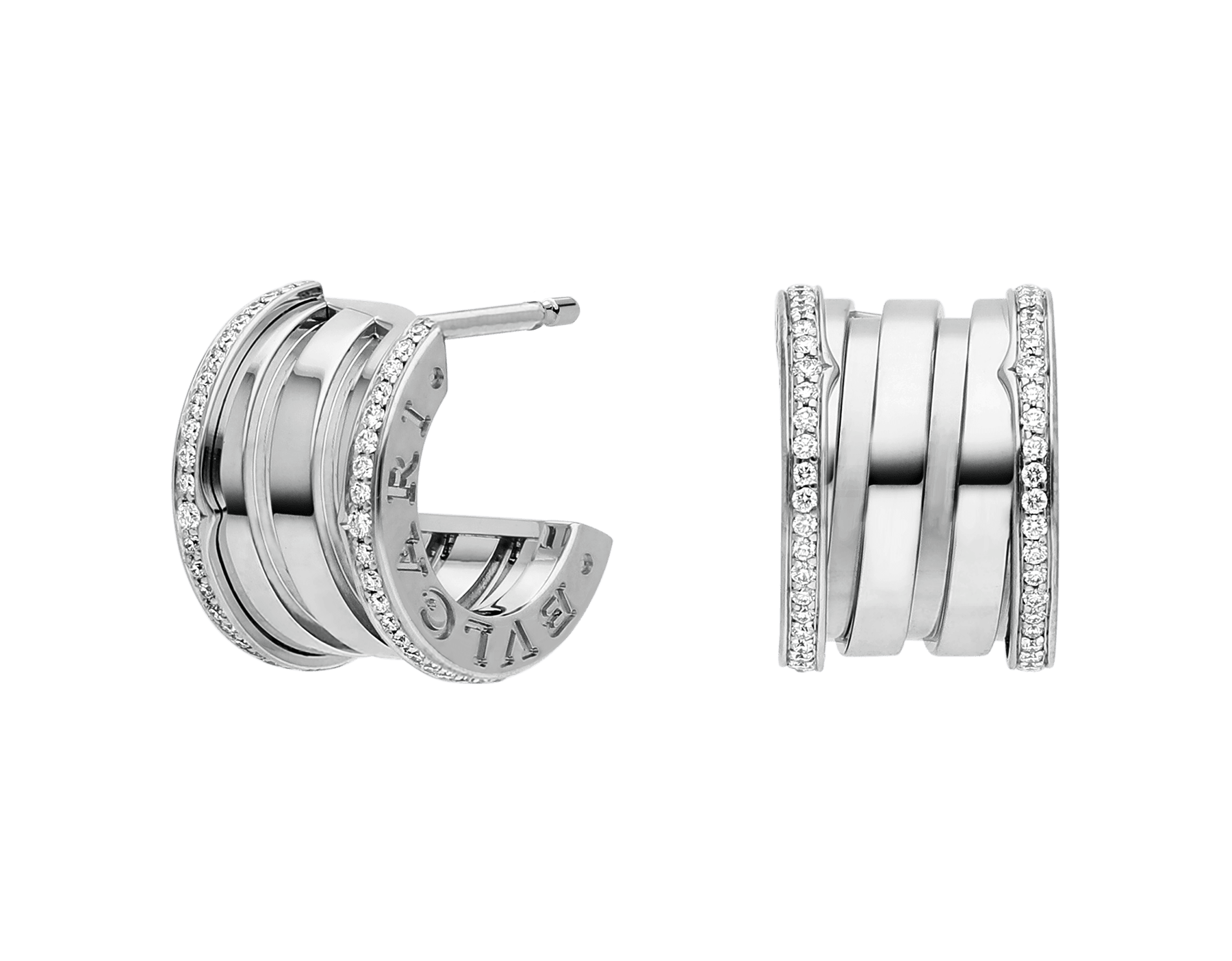 Fusing the bold character of their fluid curves with the preciousness of pavé diamonds, the B.zero1 earrings reveal the contemporary elegance and captivating charisma of a jewellery icon. 353797 image 1