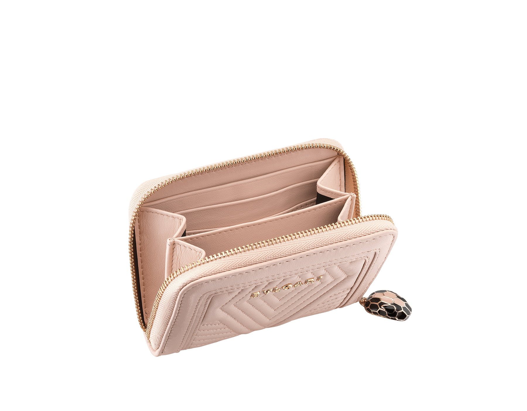 Serpenti Diamond Blast mini zipped wallet in crystal rose quilted nappa leather. Iconic snakehead zip puller in black and white enamel, with black enamel eyes 287589 image 2