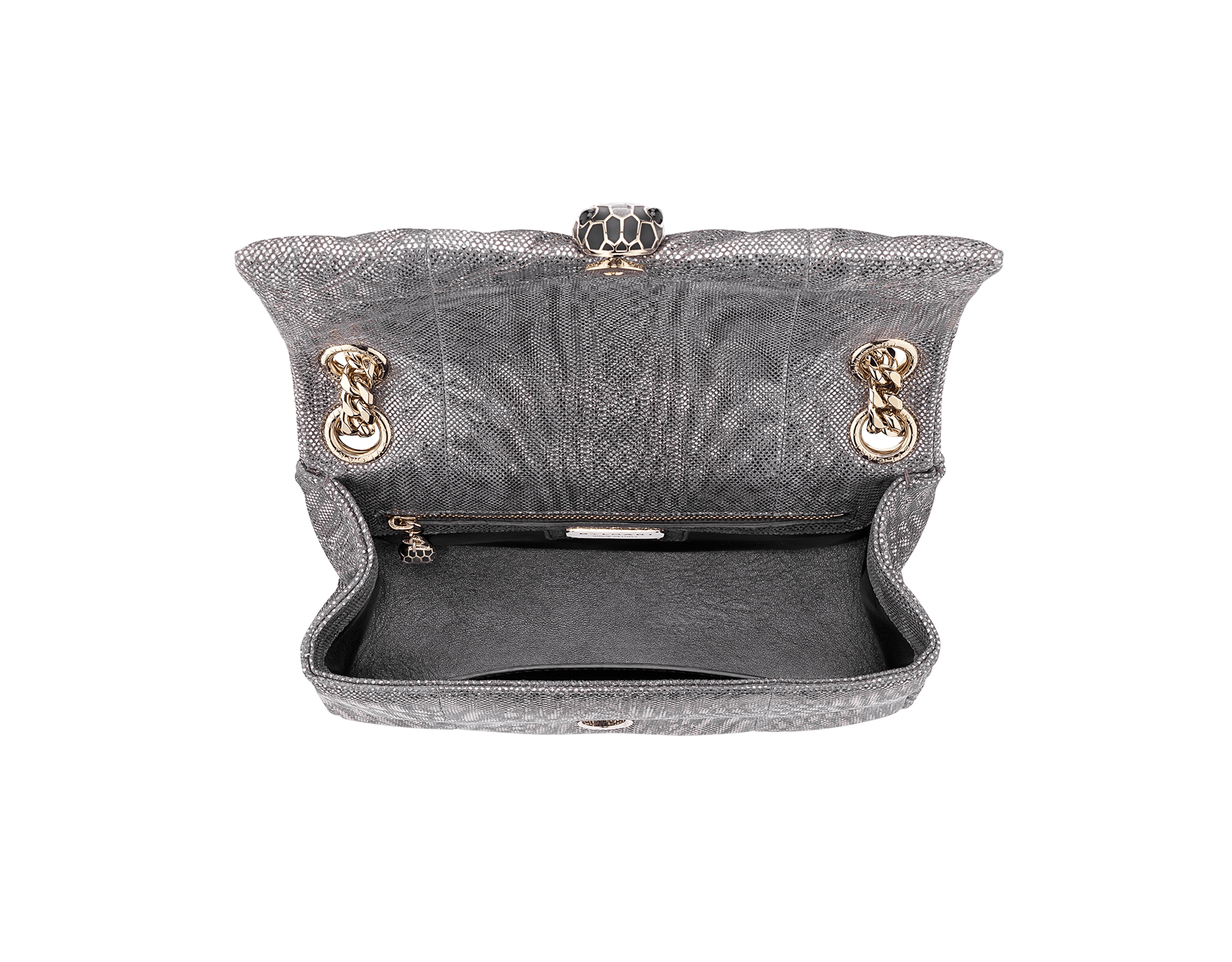 Serpenti Cabochon shoulder bag in soft matelassé charcoal diamond metallic karung skin with graphic motif. Snakehead closure in light gold plated brass decorated with matte black and glitter charcoal diamond enamel, and black onyx eyes. 288617 image 4
