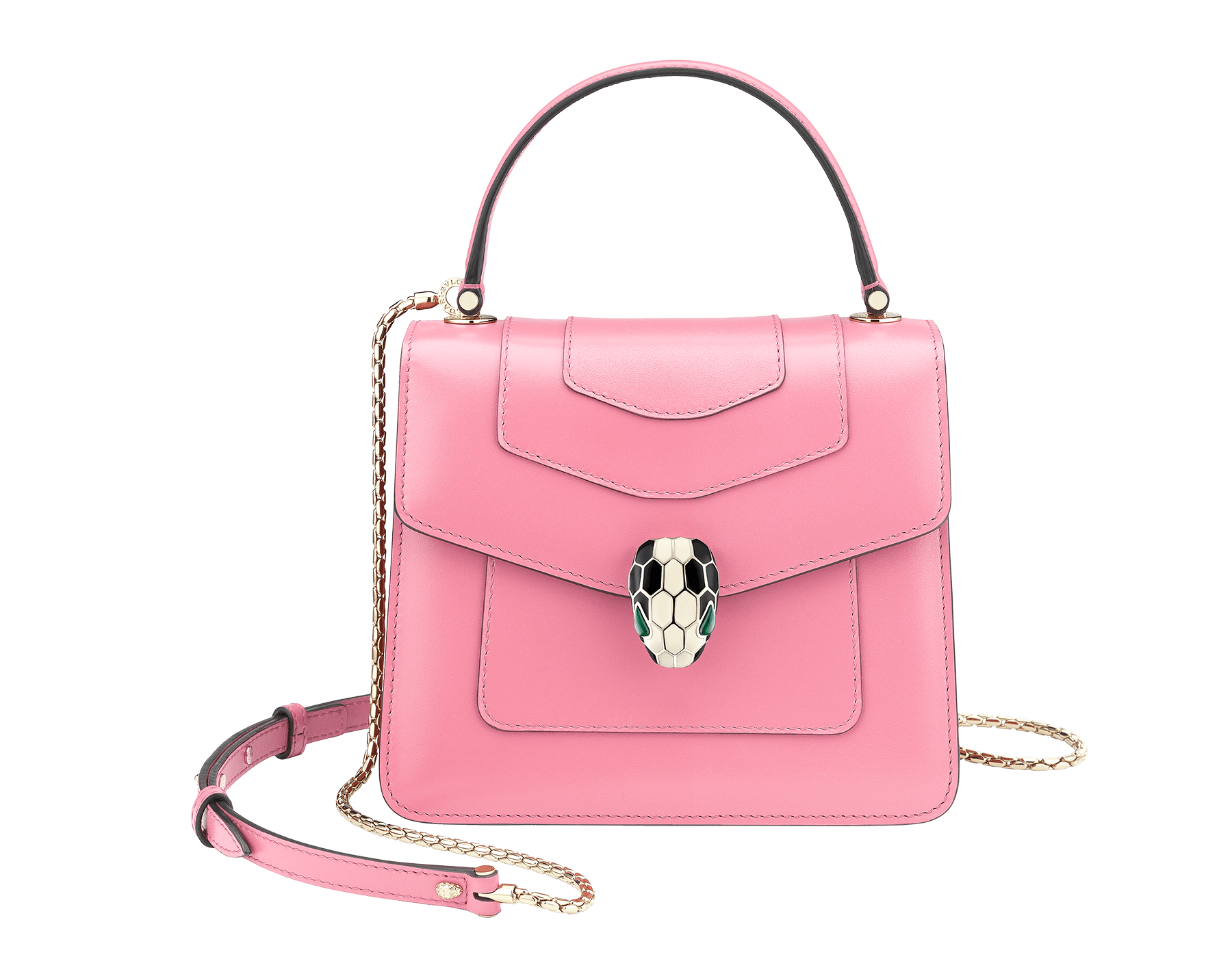 """Serpenti Forever"" crossbody bag in candy quartz calf leather. Iconic snakehead closure in light gold plated brass enriched with black and white enamel and green malachite eyes 287029 image 1"