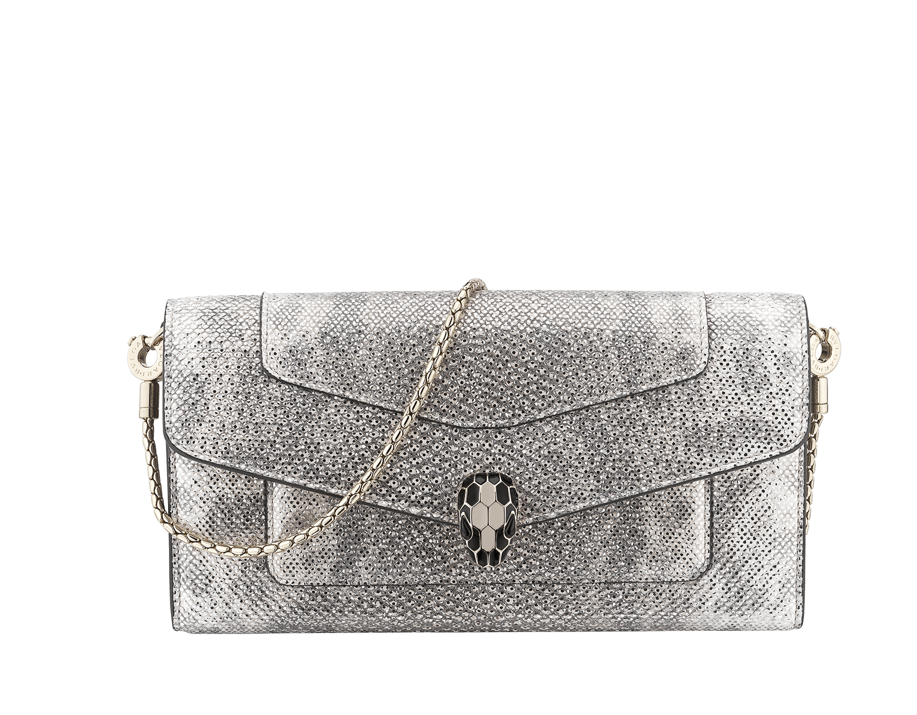 Serpenti Forever wallet pouch in white agate metallic karung skin and white agate calf leather. Iconic snakehead press-stud closure in black and white agate enamel, with black onyx eyes. 289310 image 1