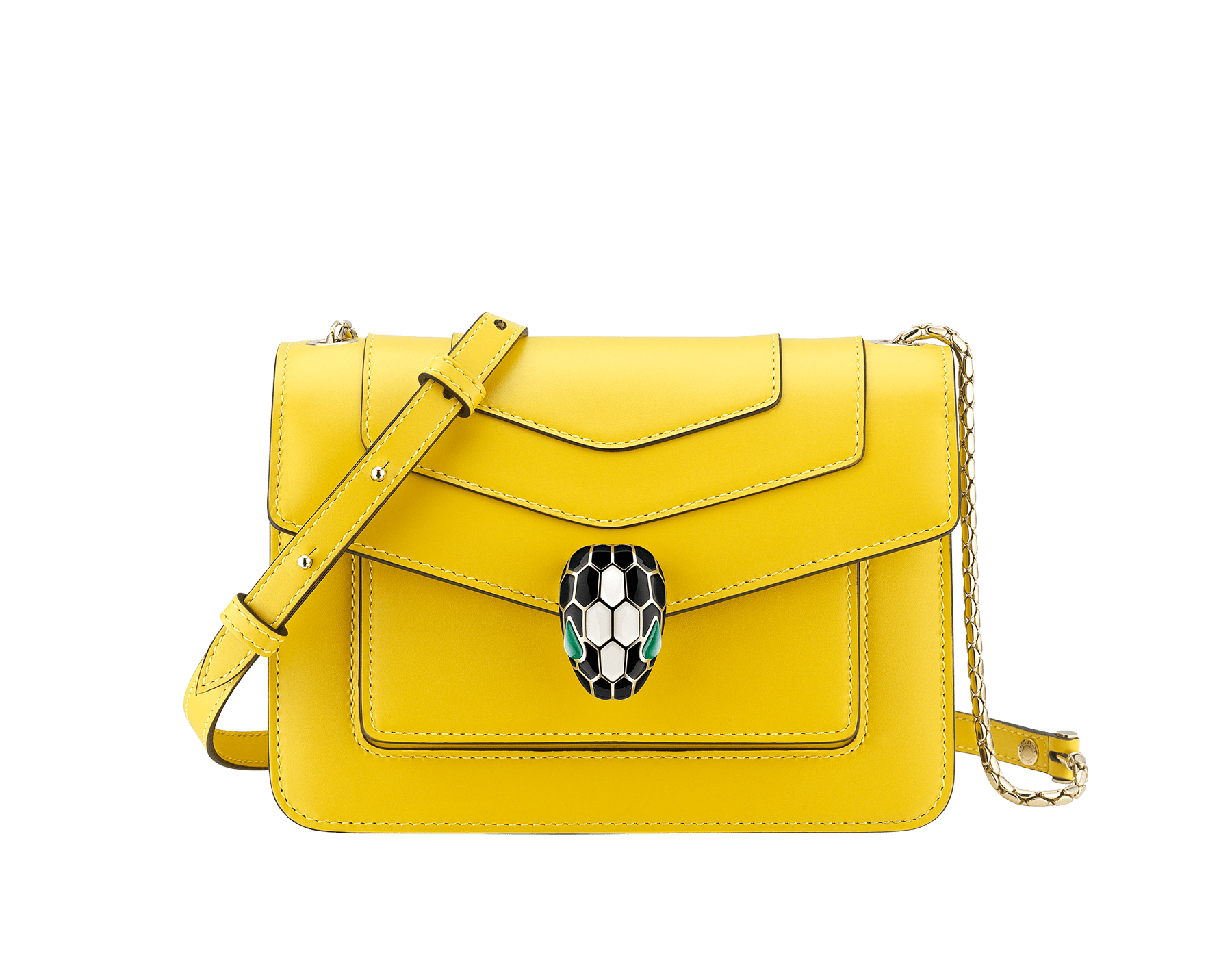 """Serpenti Forever"" crossbody bag in daisy topaz calf leather. Iconic snake head closure in light gold plated brass enriched with black and white enamel and green malachite eyes. 289672 image 1"