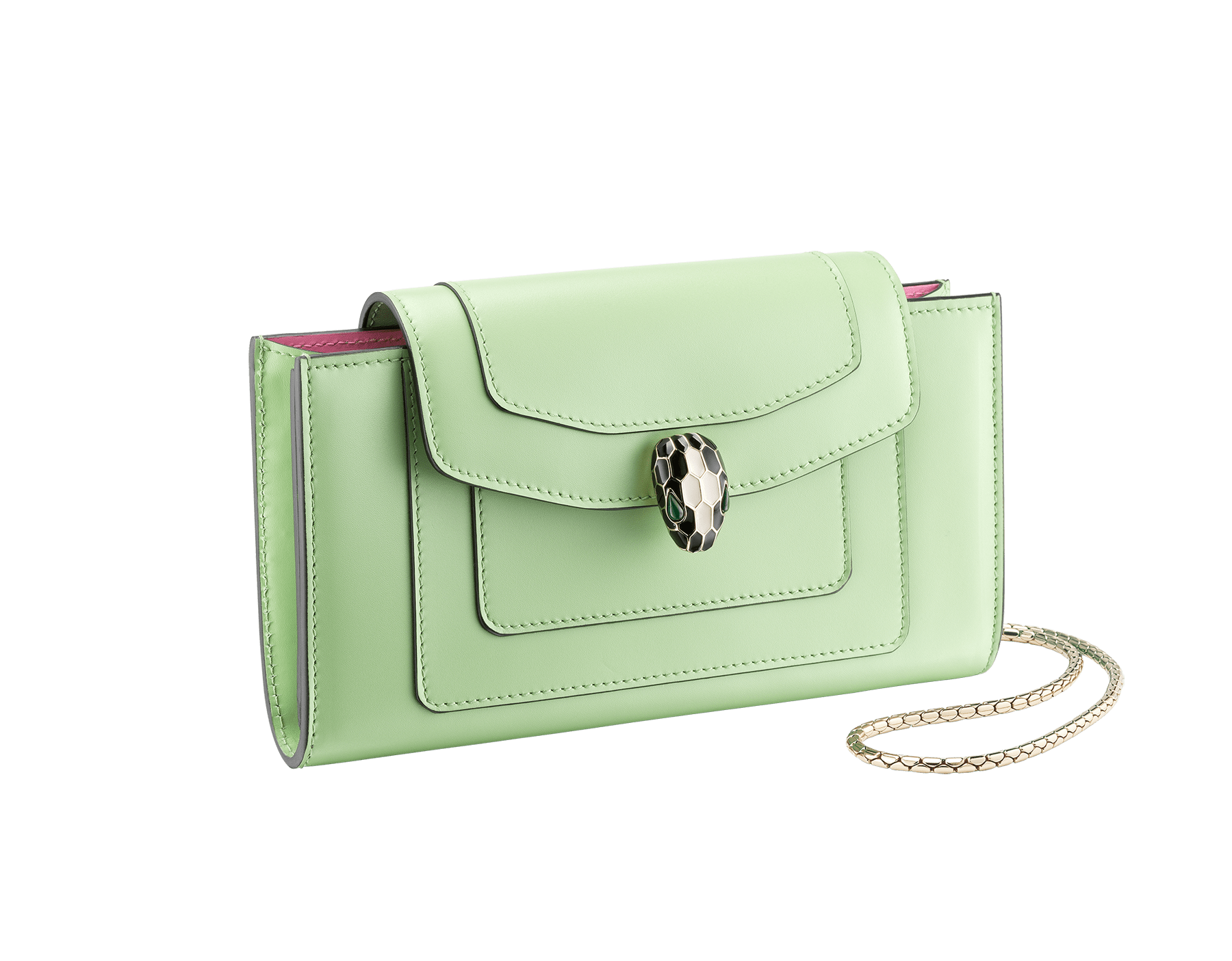 """""""Serpenti Forever"""" device case in mint and taffy quartz calf leather. Light gold plated brass snakehead closure in black and white enamel with green malachite eyes. 290013 image 1"""