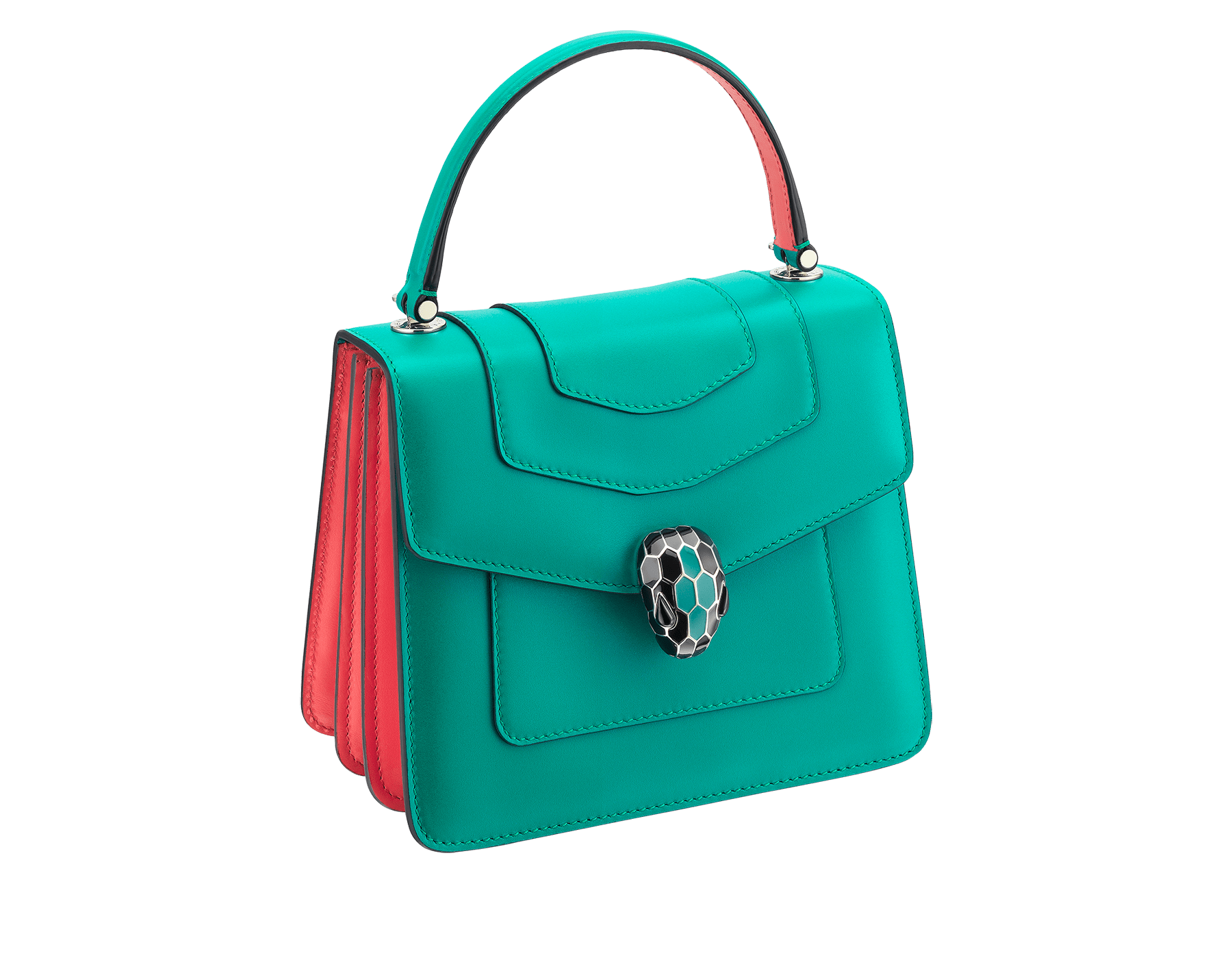 Serpenti Forever crossbody bag in tropical turquoise smooth calf leather body and sea star coral calf leather sides. Snakehead closure in light gold plated brass decorated with tropical turquoise and black enamel, and black onyx eyes. 287964 image 2