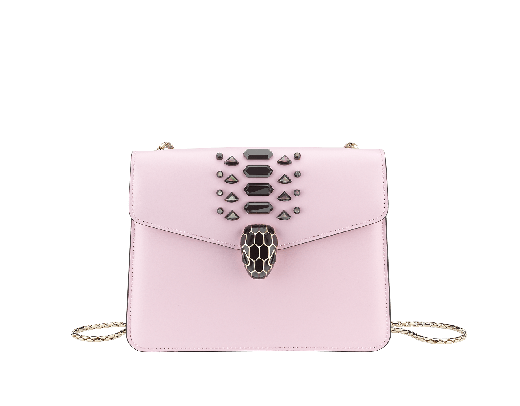 """Serpenti Forever"" crossbody bag in rosa di francia smooth calf leather with onyx scales applied on the flap. Iconic snake head closure in light gold plated brass enriched with black enamel and black onyx eyes. 422-GEM image 1"