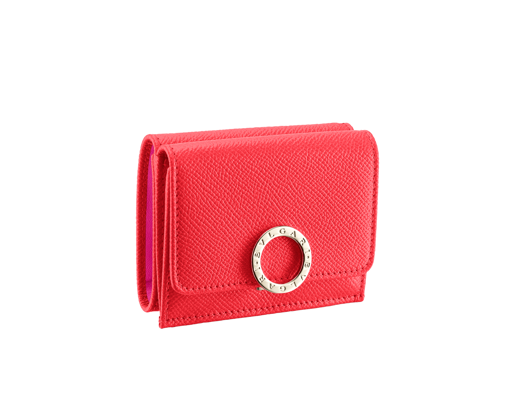 BVLGARI BVLGARI super compact wallet in sea star coral grain calf leather and pink spinel nappa leather. Iconic logo closure clip in light gold plated brass. 288651 image 1