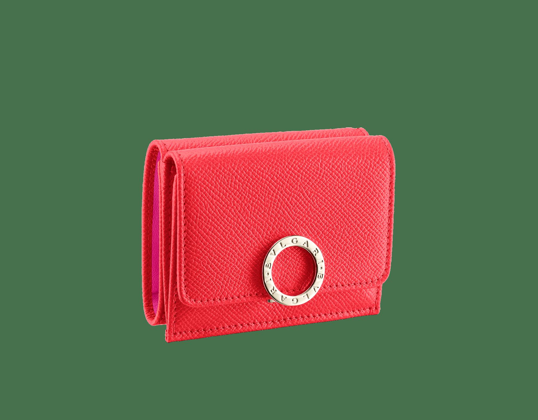 BVLGARI BVLGARI 超級小巧皮夾採用亮珠面海星珊瑚色小牛皮和粉紅尖晶石色 Nappa 軟面皮。經典品牌標誌淡金色黃銅扣環。 288651 image 1