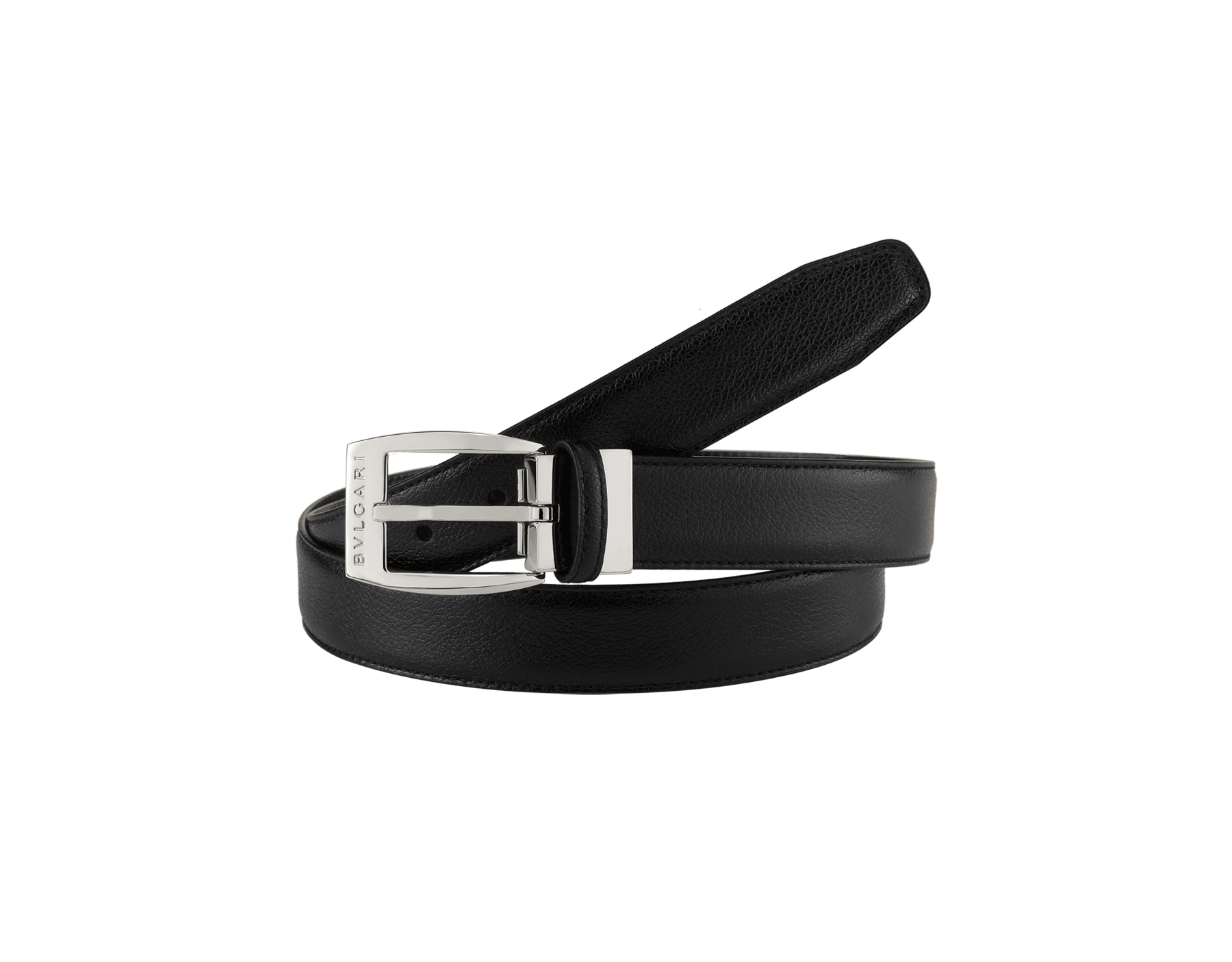 Black country calf leather belt for men with Ellipse closure in brass palladium plated hardware. Also available in other colors and materials. 43.3x1.2 (110x3 cm) ELLIPSE-CCL image 2