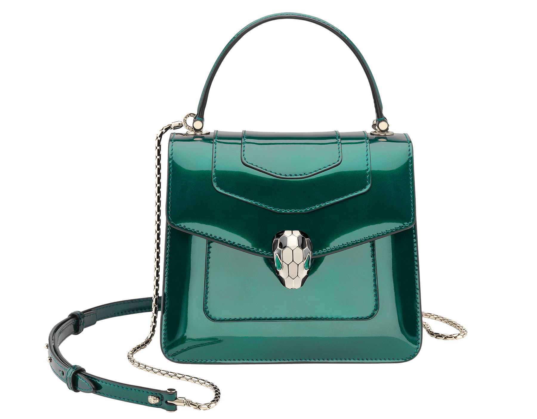 Flap cover bag Serpenti Forever in forest emerald brushed metallic calf leather. Brass light gold plated hardware and snake head closure in black and white enamel with eyes in green malachite. 752-BMCLb image 1