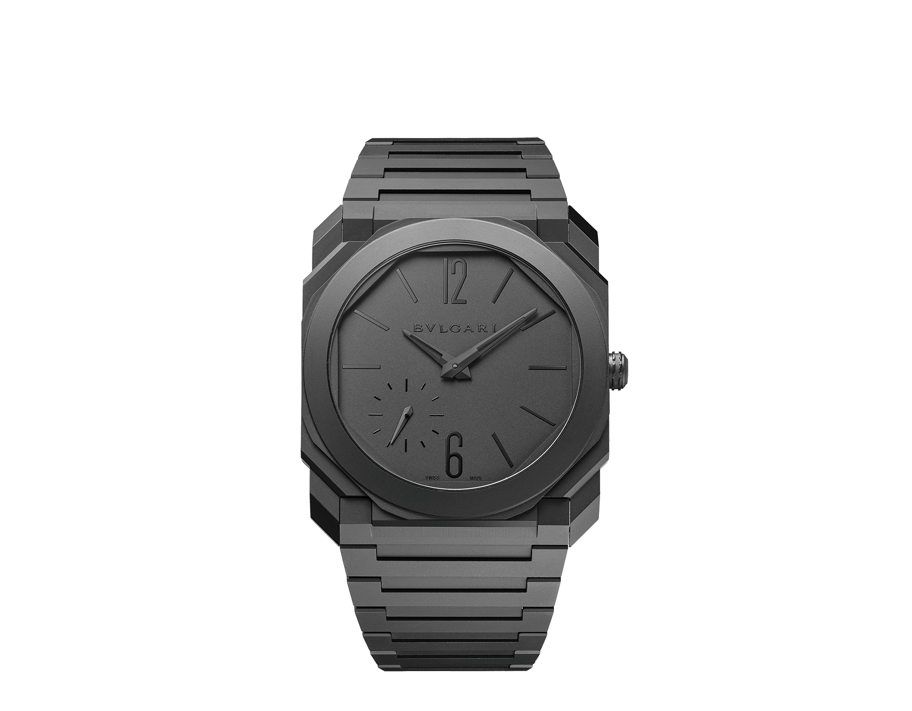 Octo Finissimo Automatic watch in black sandblasted ceramic with extra-thin mechanical manufacture movement, automatic winding with platinum microrotor, small seconds and transparent case back. Water-resistant up to 30 metres 103077 image 1