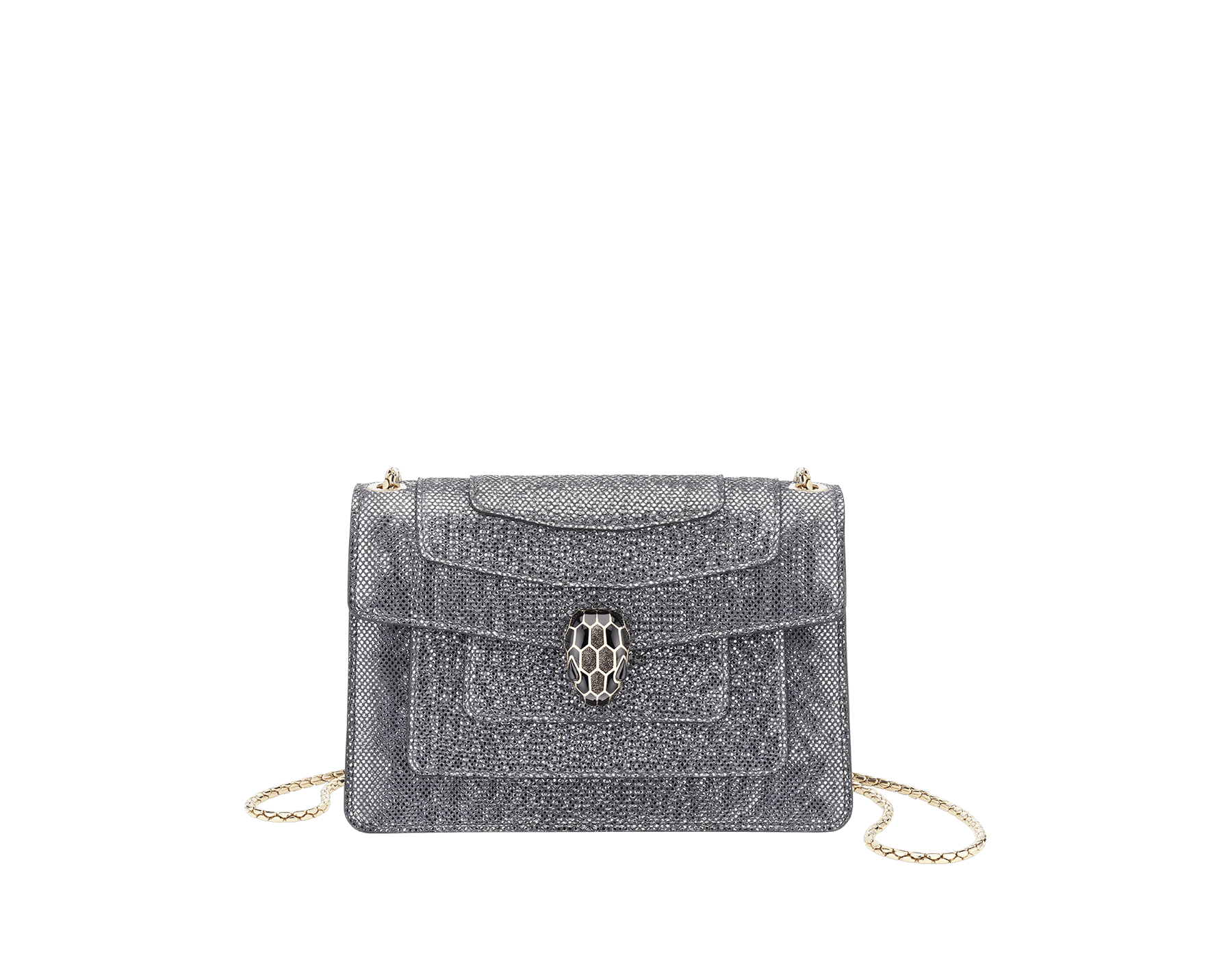 Serpenti Forever mini crossbody bag in white agate metallic karungskin. Brass light gold-plated snake head closure in black and white enamel, with black onyx eyes. 986-MK image 1