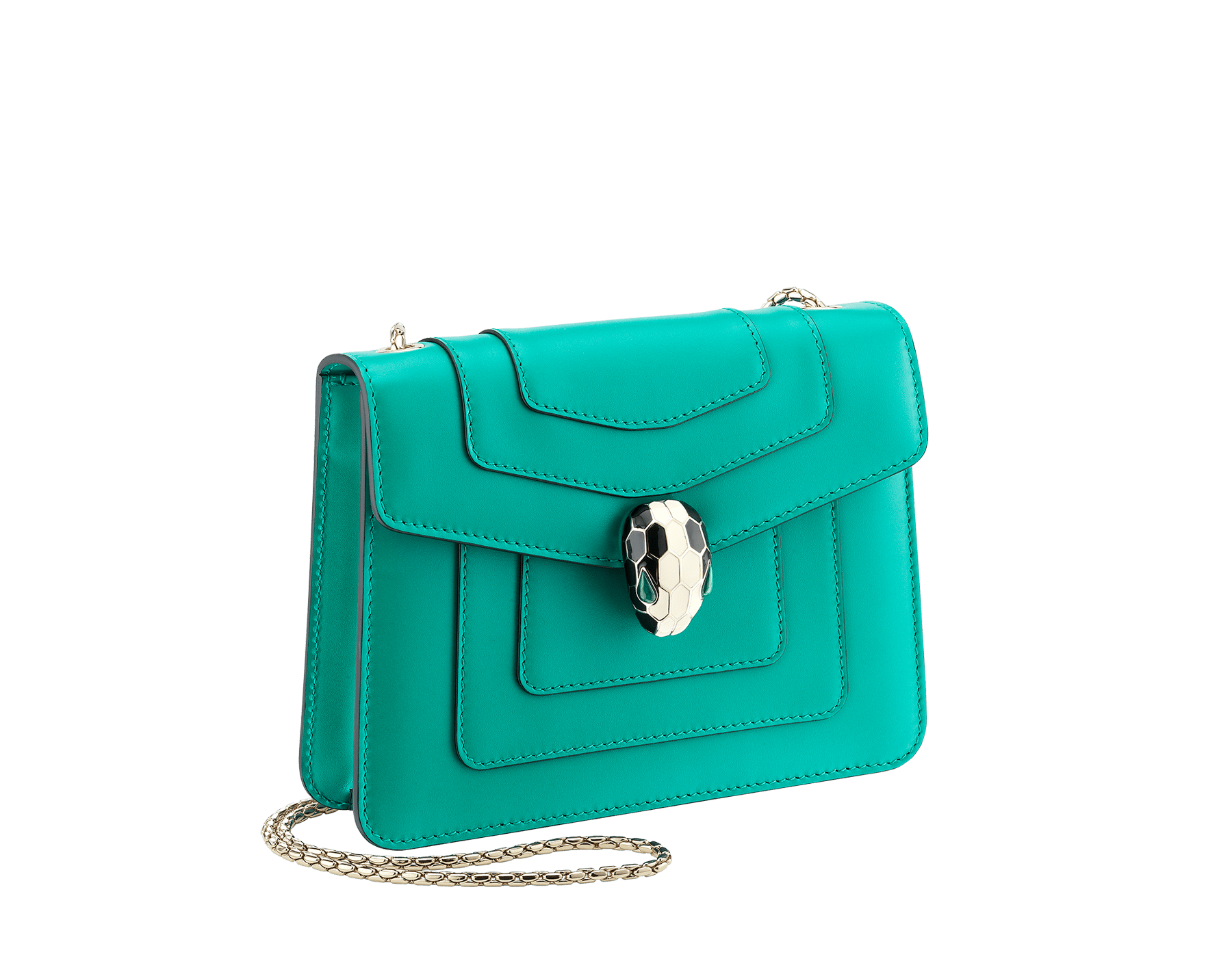 """Serpenti Forever"" crossbody bag in candy quartz calf leather. Iconic snakehead closure in light gold plated brass enriched with black and white enamel and green malachite eyes 422-CLe image 2"
