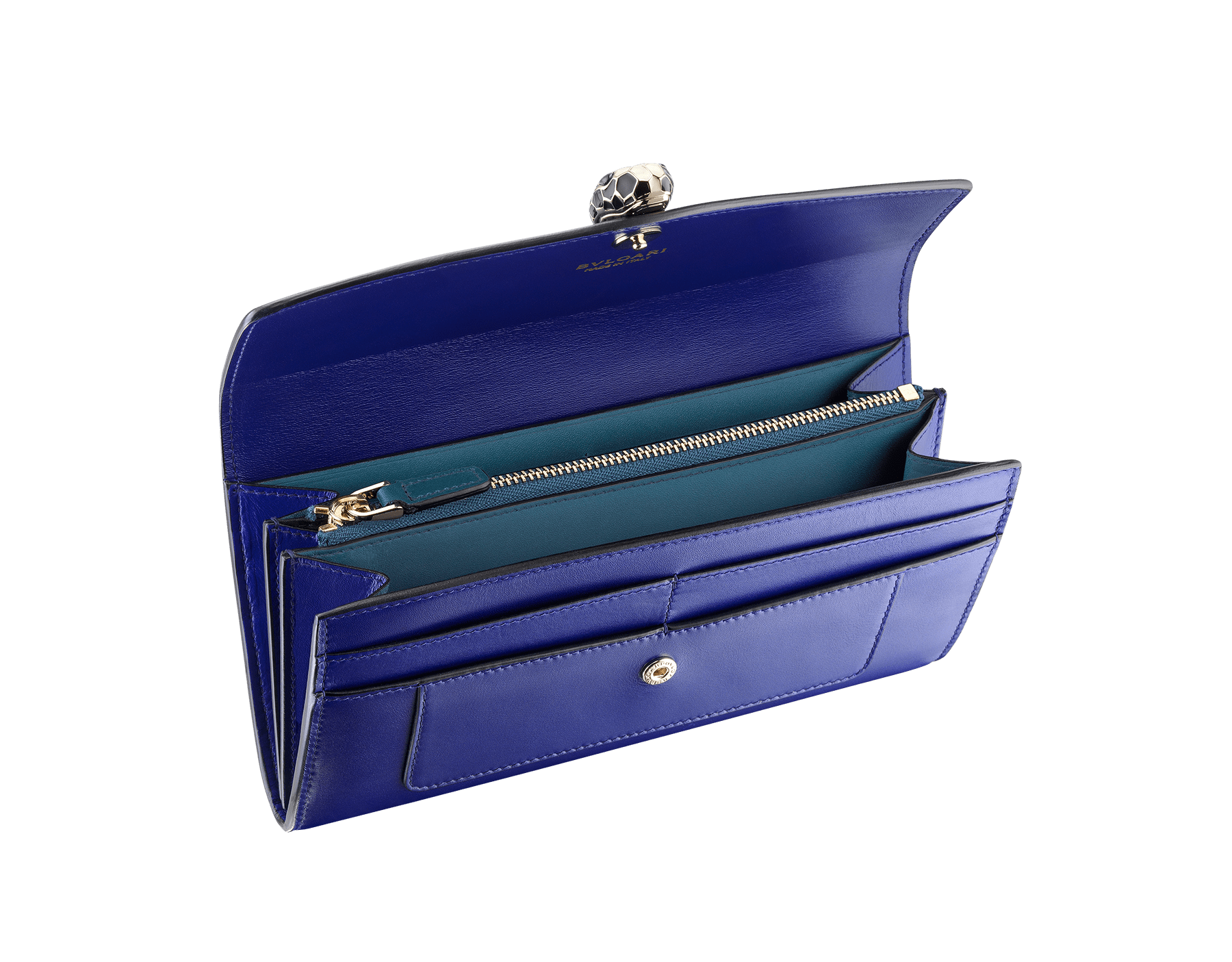 Wallet pochette in royal sapphire and teal topaz calf leather with brass light gold plated hardware. Serpenti head stud closure in black and white enamel with eyes in green malachite. Two internal gussets, sixteen credit card slots, one bill compartment and a zipped change holder in the middle. Also available in other colours. 19 x 10 cm. - 7.5 x 3.9 281296 image 2