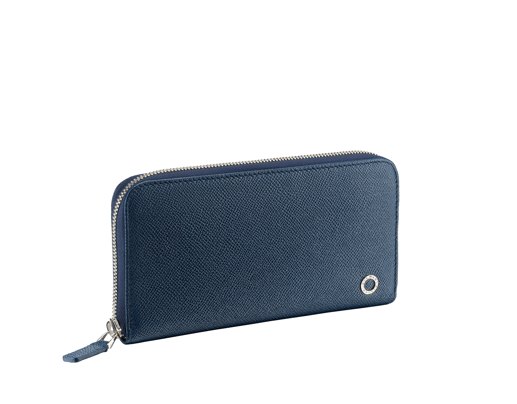 BVLGARI BVLGARI man zipped wallet in denim sapphire and tropical tourquoise grain calf leather and black nappa lining. Iconic logo décor in palladium plated brass. 288254 image 1