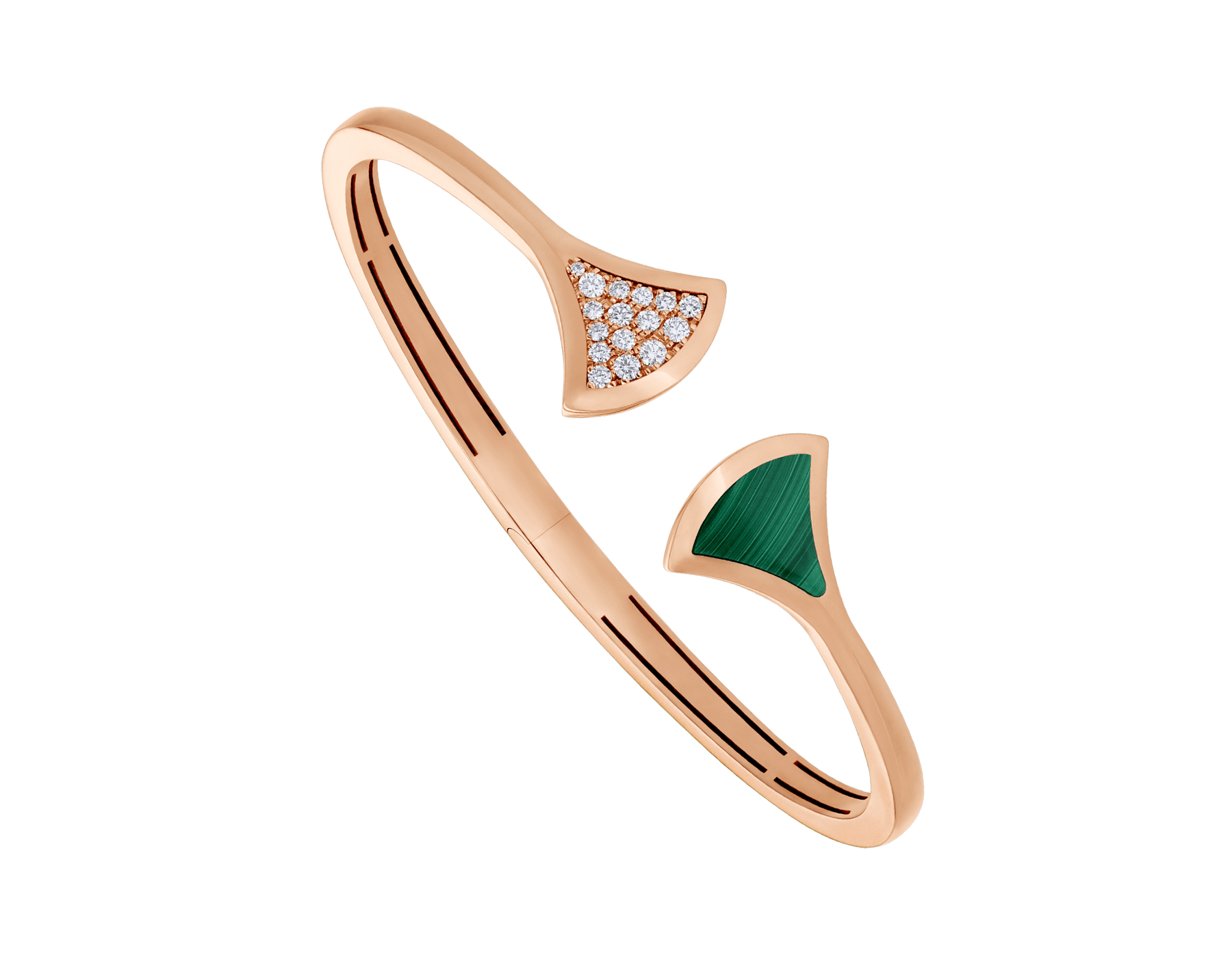 DIVAS' DREAM 18 kt rose gold bangle bracelet set with malachite element and pavé diamonds (0.16 ct) BR858679 image 1