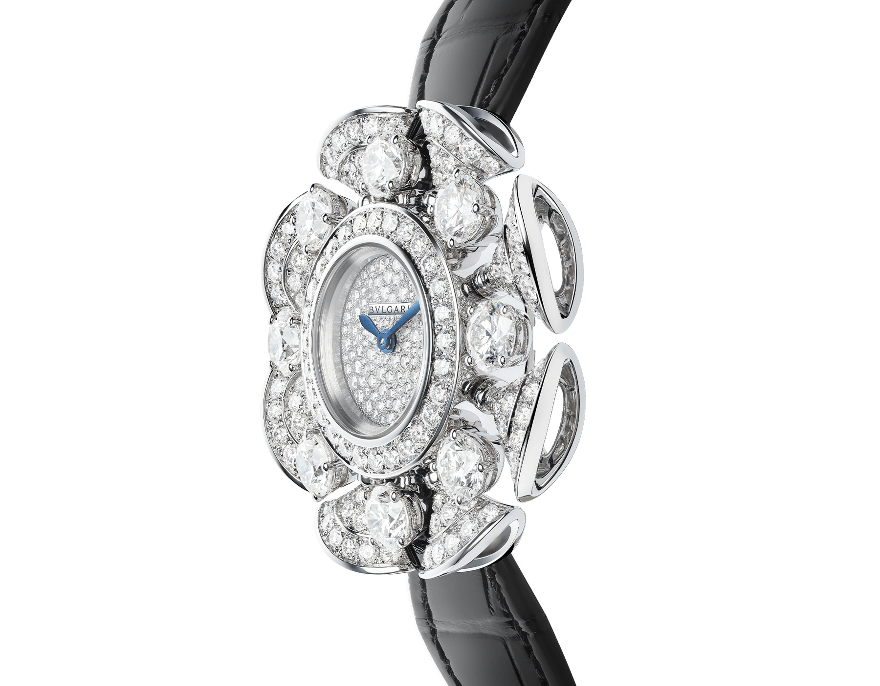 DIVAS' DREAM Divissima High Jewellery watch with 18 kt white gold case and mobile petals set with 8 large round brilliant-cut diamonds and other round brilliant-cut diamonds, pavé diamond dial and black alligator bracelet. Water-resistant up to 30 metres 103474 image 2