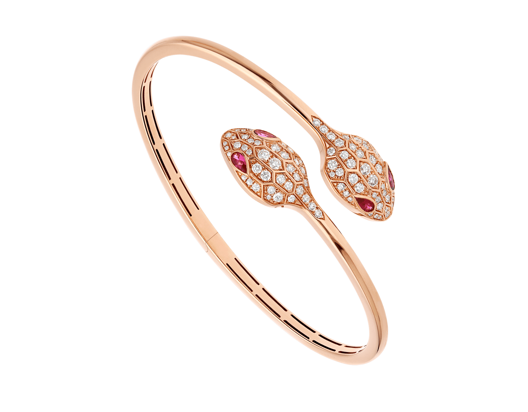 Bracelet Serpenti en or rose 18 K avec yeux en rubellite (0,45 ct) et pavé diamants (1,09 ct) BR858550 image 1