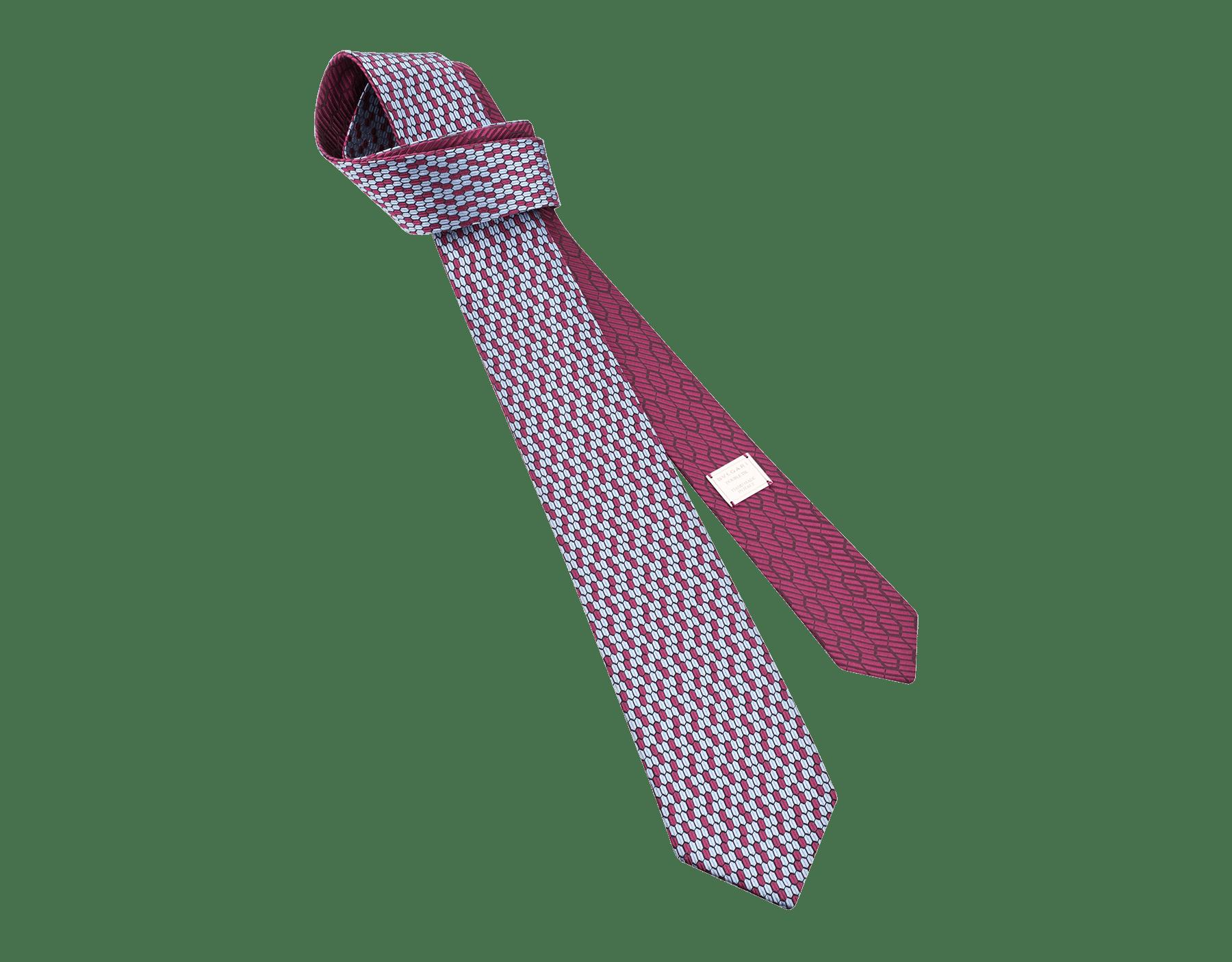 ネイビーのダブル マルチスケール ネクタイ。上質なジャカードシルク製。 DoubleMultiScalesa image 1