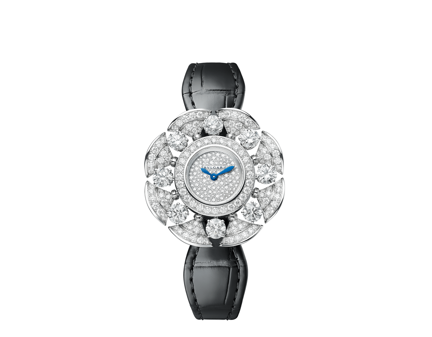 DIVAS' DREAM Divissima High Jewellery watch with 18 kt white gold case and mobile petals set with 8 large round brilliant-cut diamonds and other round brilliant-cut diamonds, pavé diamond dial and black alligator bracelet. Water-resistant up to 30 metres 103474 image 1