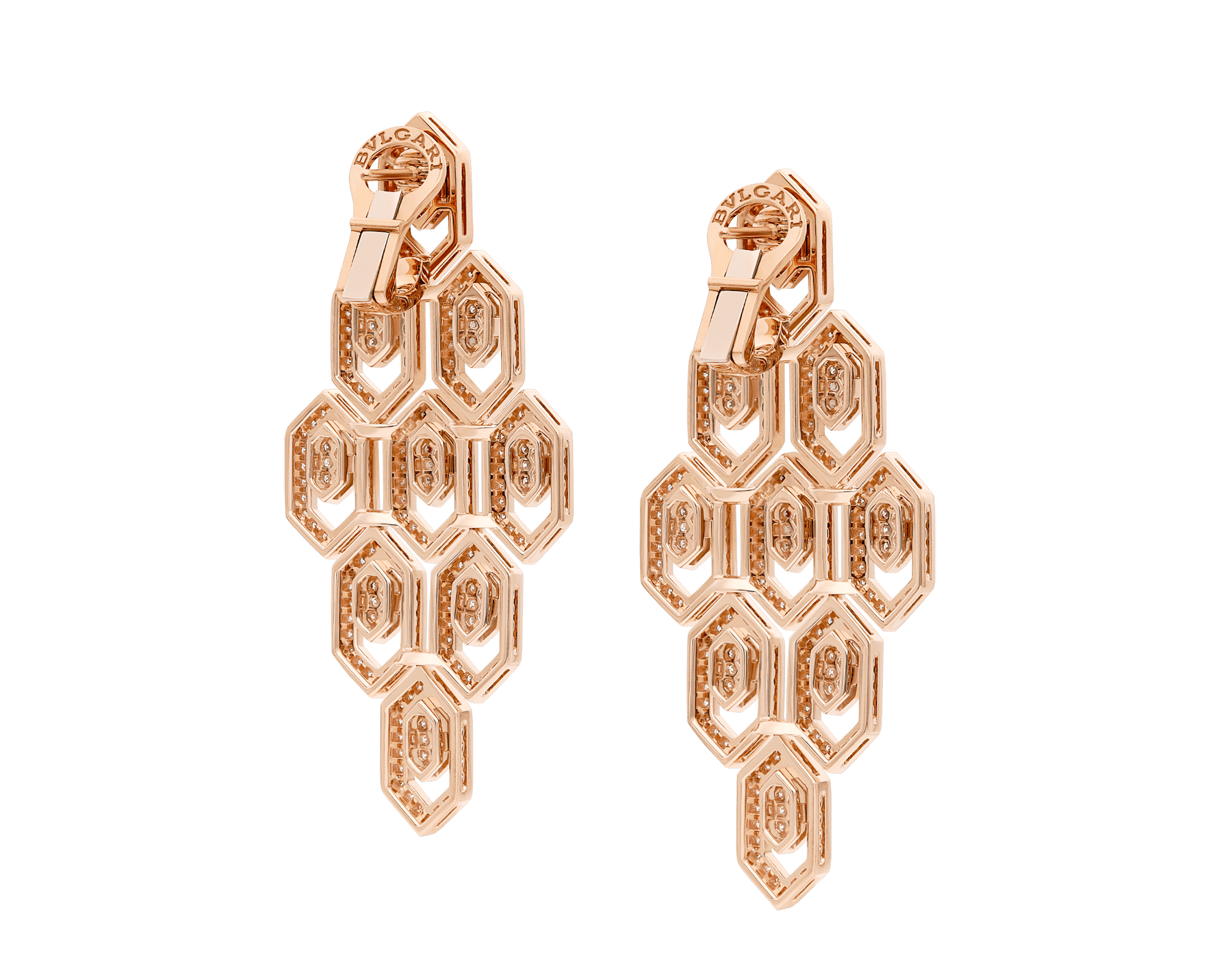 Serpenti 18 kt rose gold earrings set with pavé diamonds. 356507 image 3