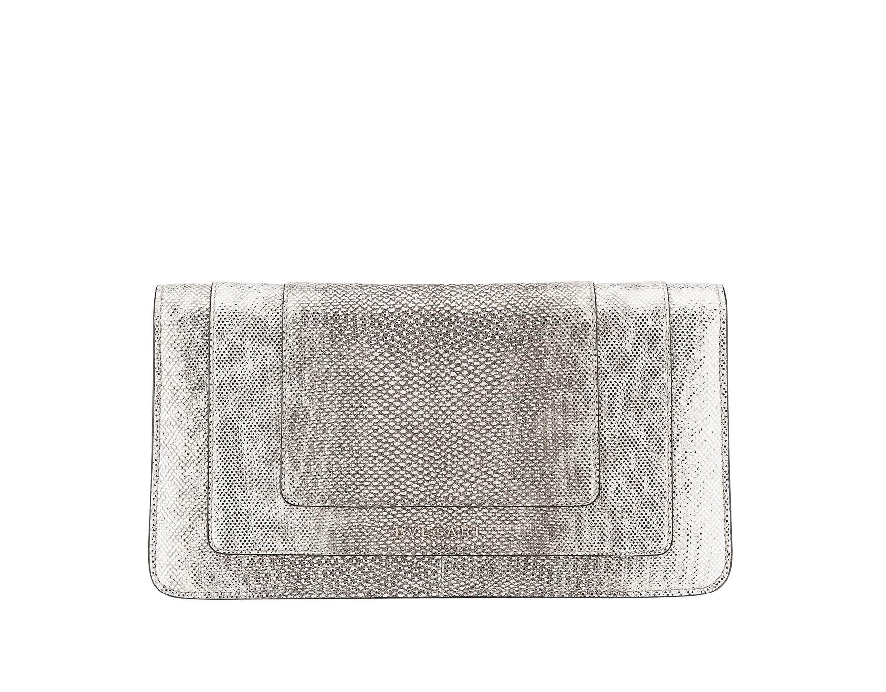 Serpenti Forever shoulder bag in milky opal metallic karung skin. Snakehead closure in light gold plated brass decorated with black and glitter milky opal enamel, and black onyx eyes. 287943 image 3