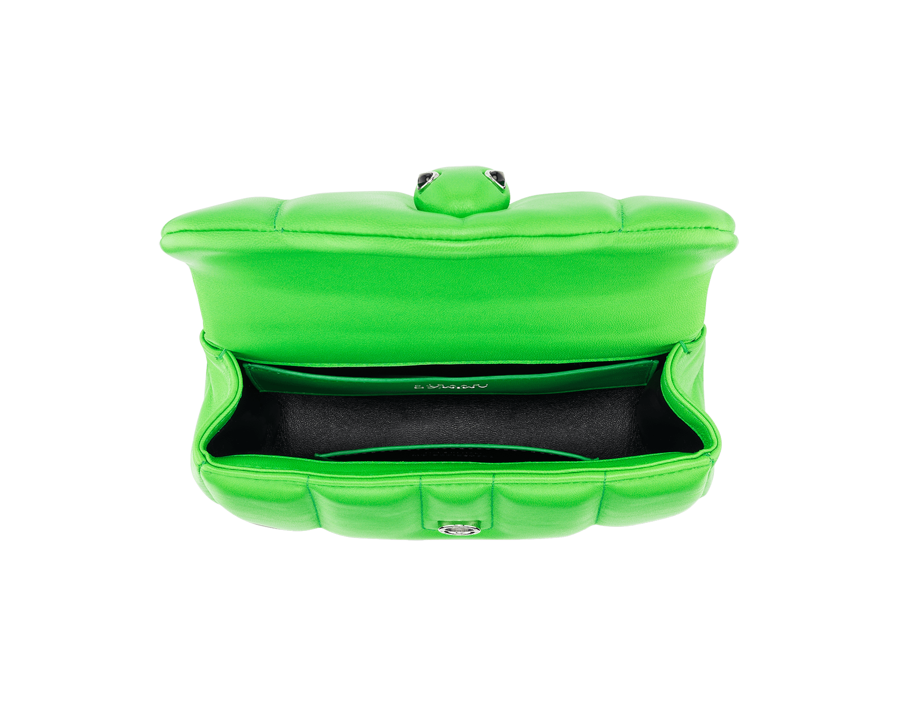 """Ambush x Bvlgari"" belt bag in bright green nappa leather. New Serpenti head closure in palladium plated brass dressed with bright green nappa leather, finished with seductive black onyx eyes. Limited edition. YA-1059 image 4"