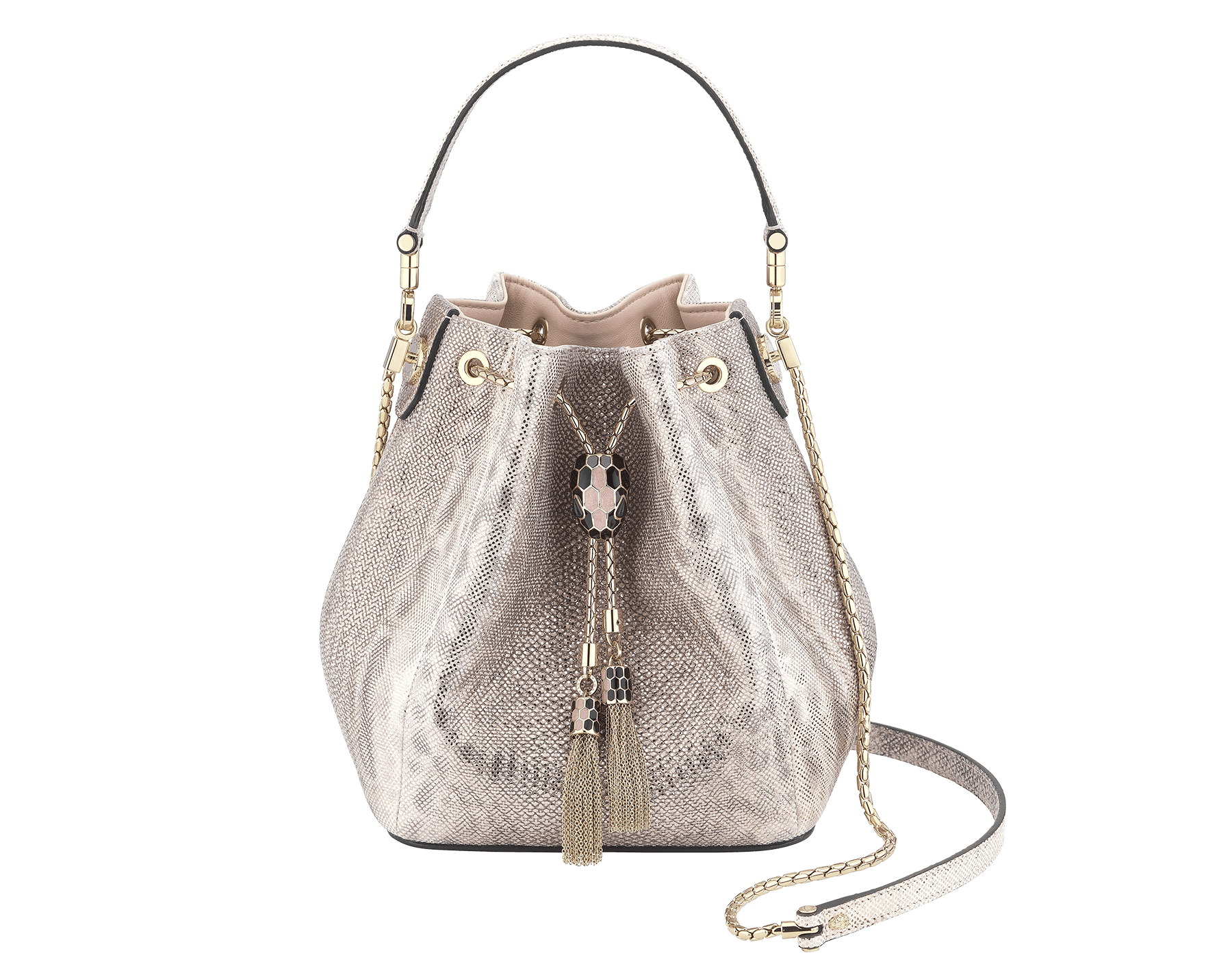 Bucket Serpenti Forever in crystal rose metallic karung skin and crystal rose nappa internal lining. Hardware in light gold plated brass and snakehead closure in black and glitter rose gold enamel, with eyes in black onyx 287614 image 1