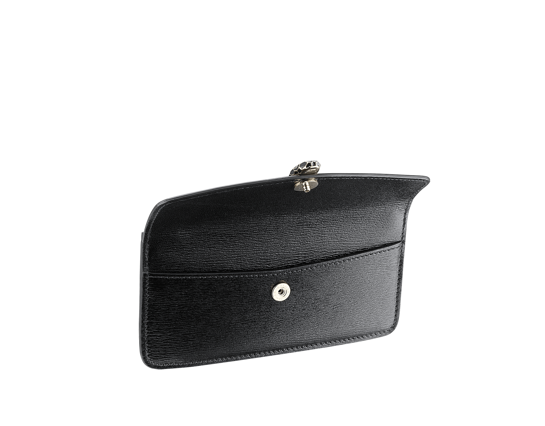 """Serpenti Forever"" card holder with emerald green calf leather flap and emerald green goatskin body. Iconic snakehead stud closure in black and emerald green enamel, with black enamel eyes. SEA-CC-HOLDER-ZIP image 2"